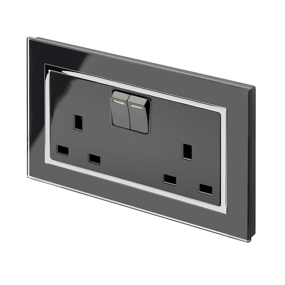 RetroTouch Double Switched Plug Socket 13A Black Glass CT 00661