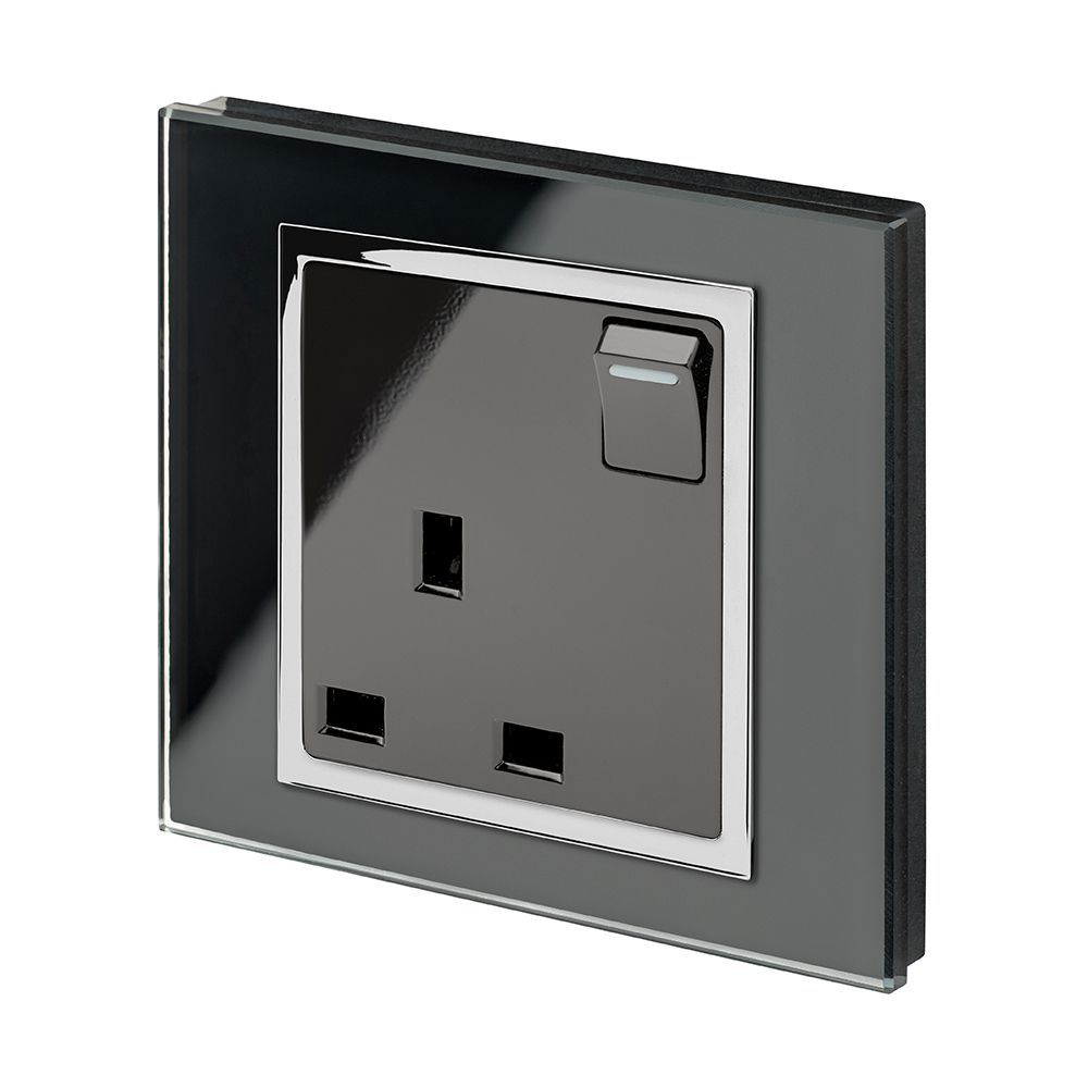 RetroTouch Single Switched Plug Socket 13A Black Glass CT 00169