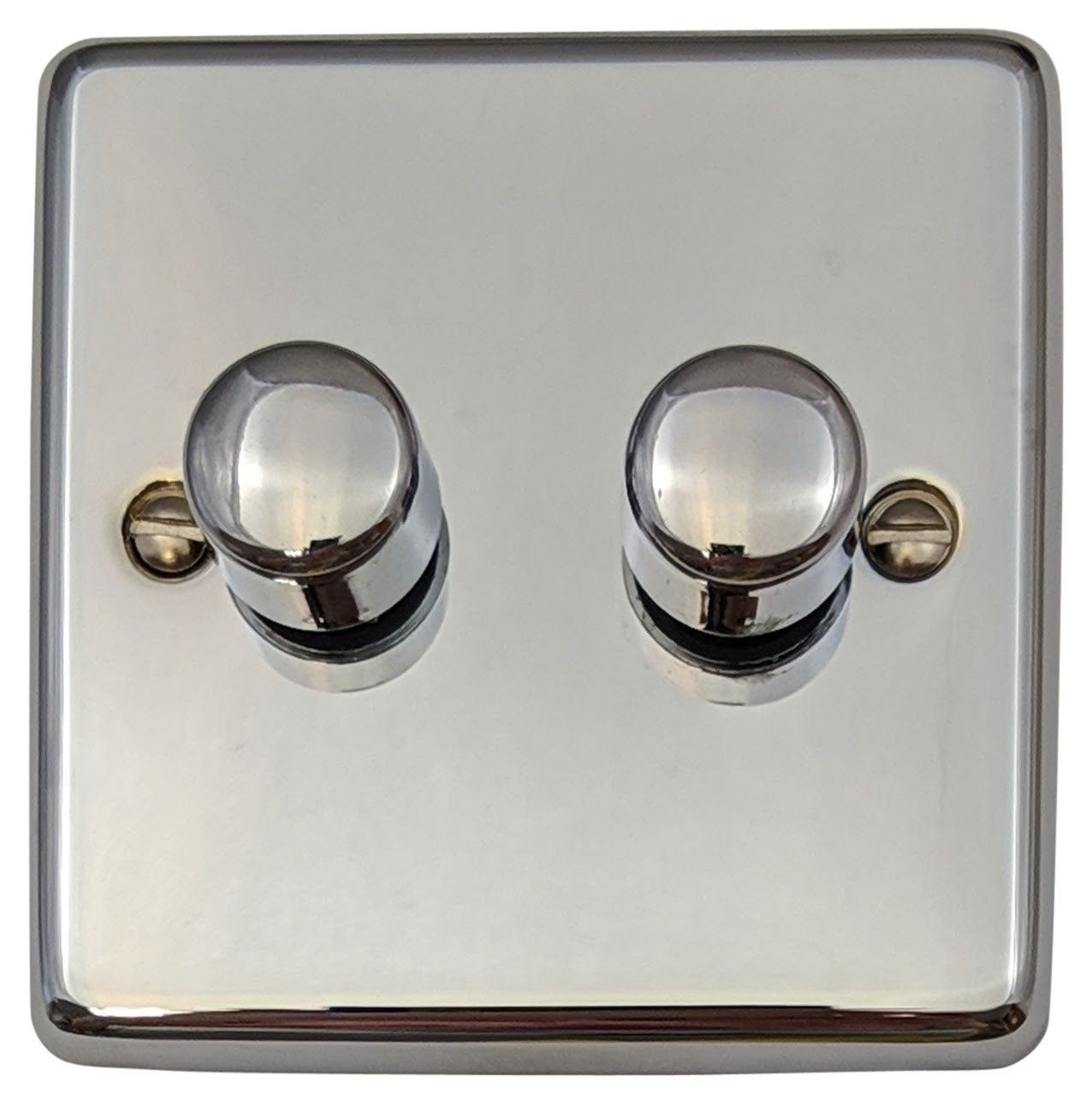G&H CC12 Standard Plate Polished Chrome 2 Gang 1 or 2 Way 40-400W Dimmer Switch