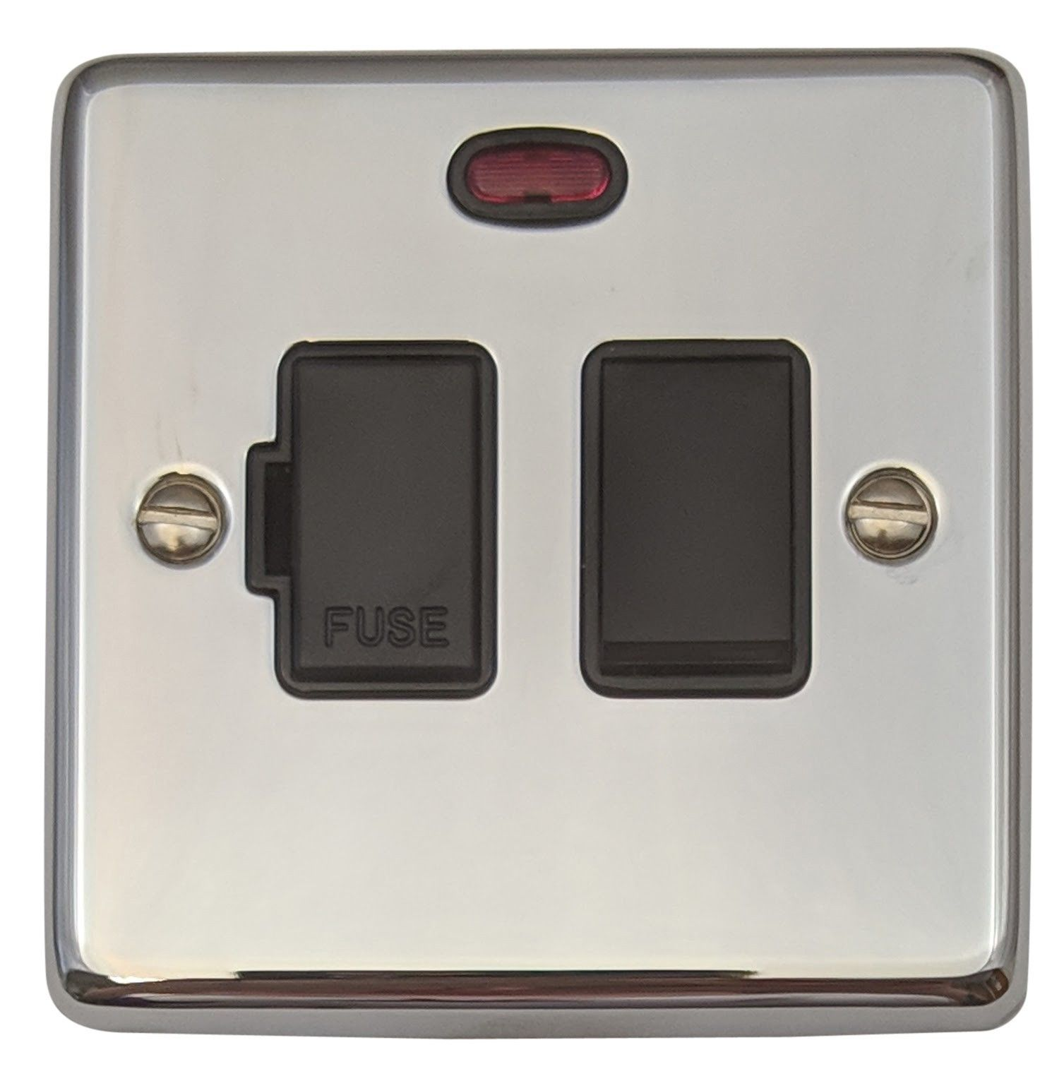 G&H CC27B Standard Plate Polished Chrome 1 Gang Fused Spur 13A Switched & Neon