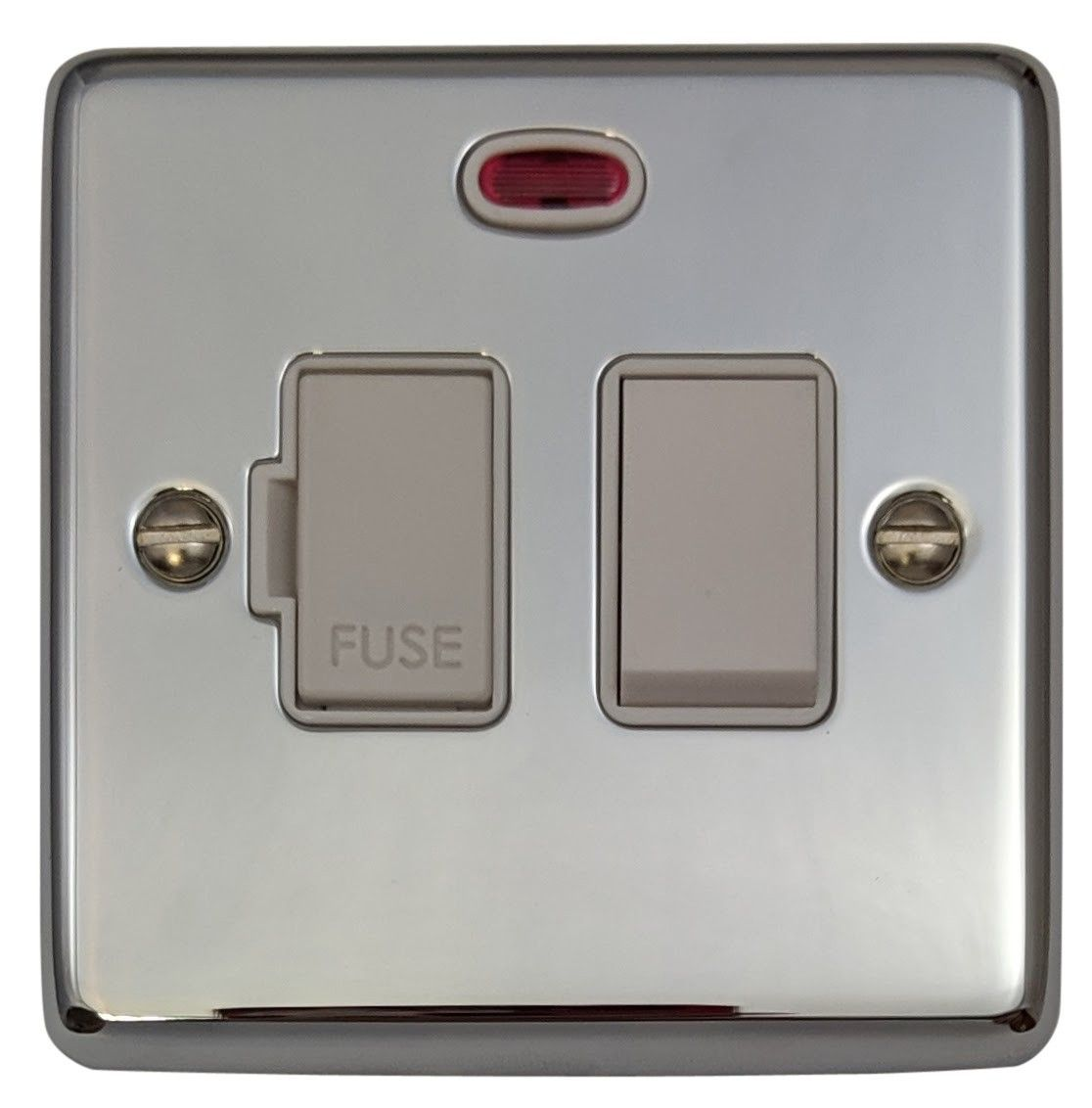G&H CC27W Standard Plate Polished Chrome 1 Gang Fused Spur 13A Switched & Neon