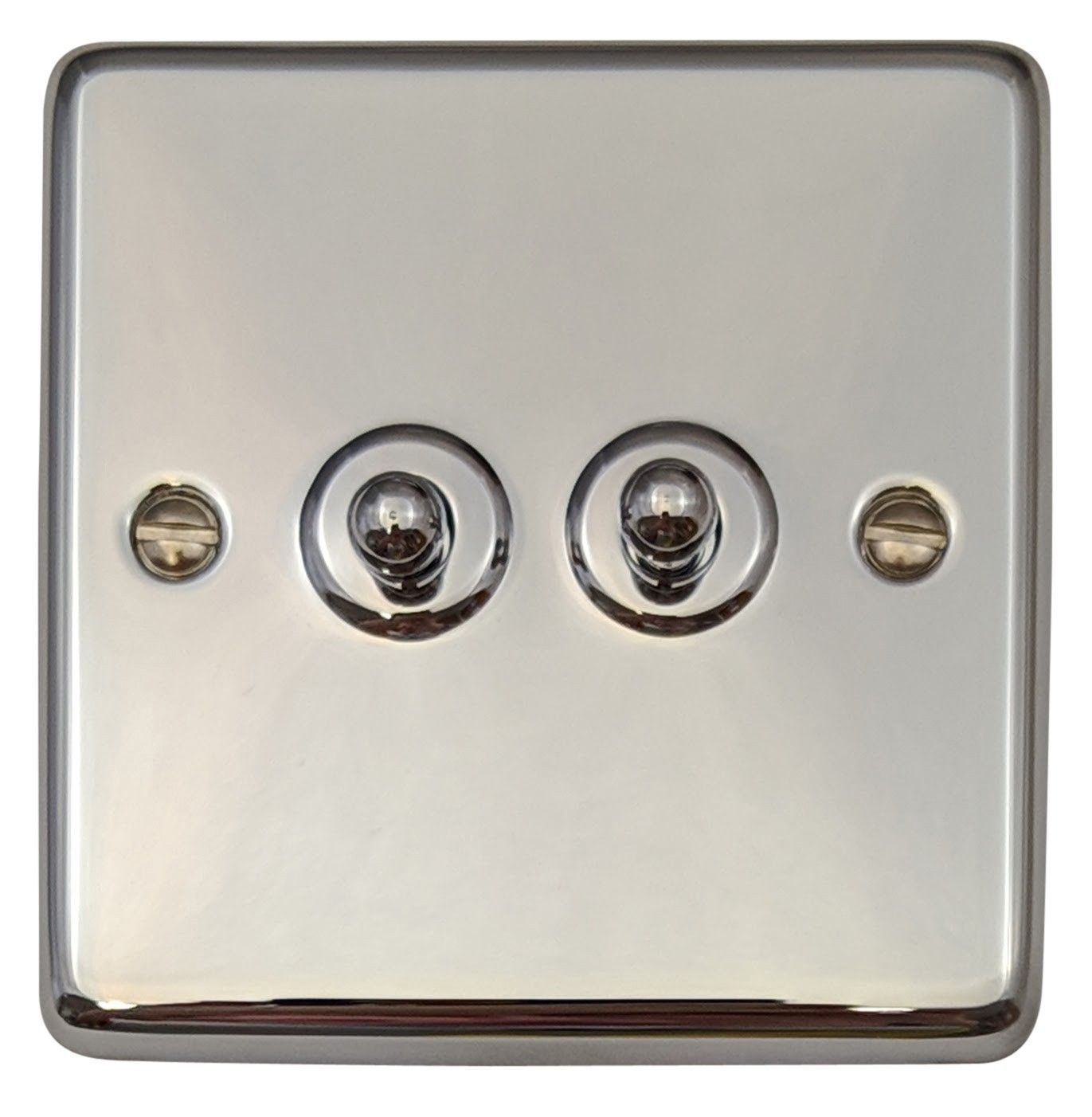 G&H CC282 Standard Plate Polished Chrome 2 Gang 1 or 2 Way Toggle Light Switch