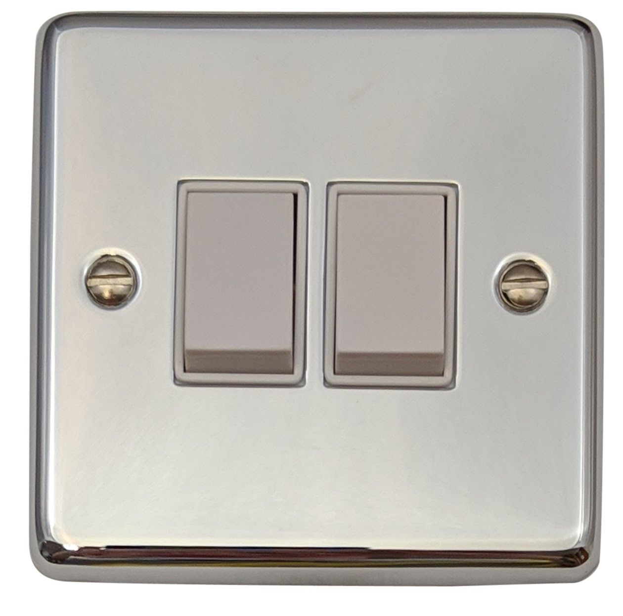 G&H CC2W Standard Plate Polished Chrome 2 Gang 1 or 2 Way Rocker Light Switch