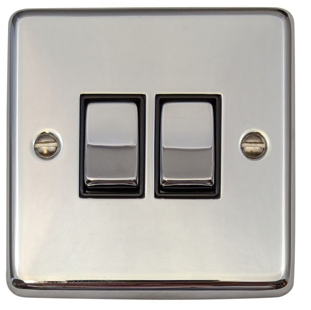 G H Cc303 Standard Plate Polished Chrome 3 Gang 1 Or 2 Way Rocker Light Switch