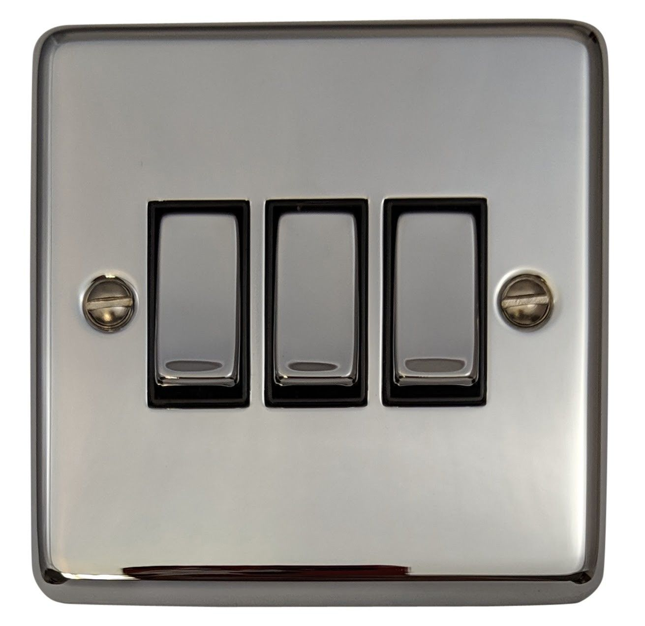 G&H CC303 Standard Plate Polished Chrome 3 Gang 1 or 2 Way Rocker Light Switch