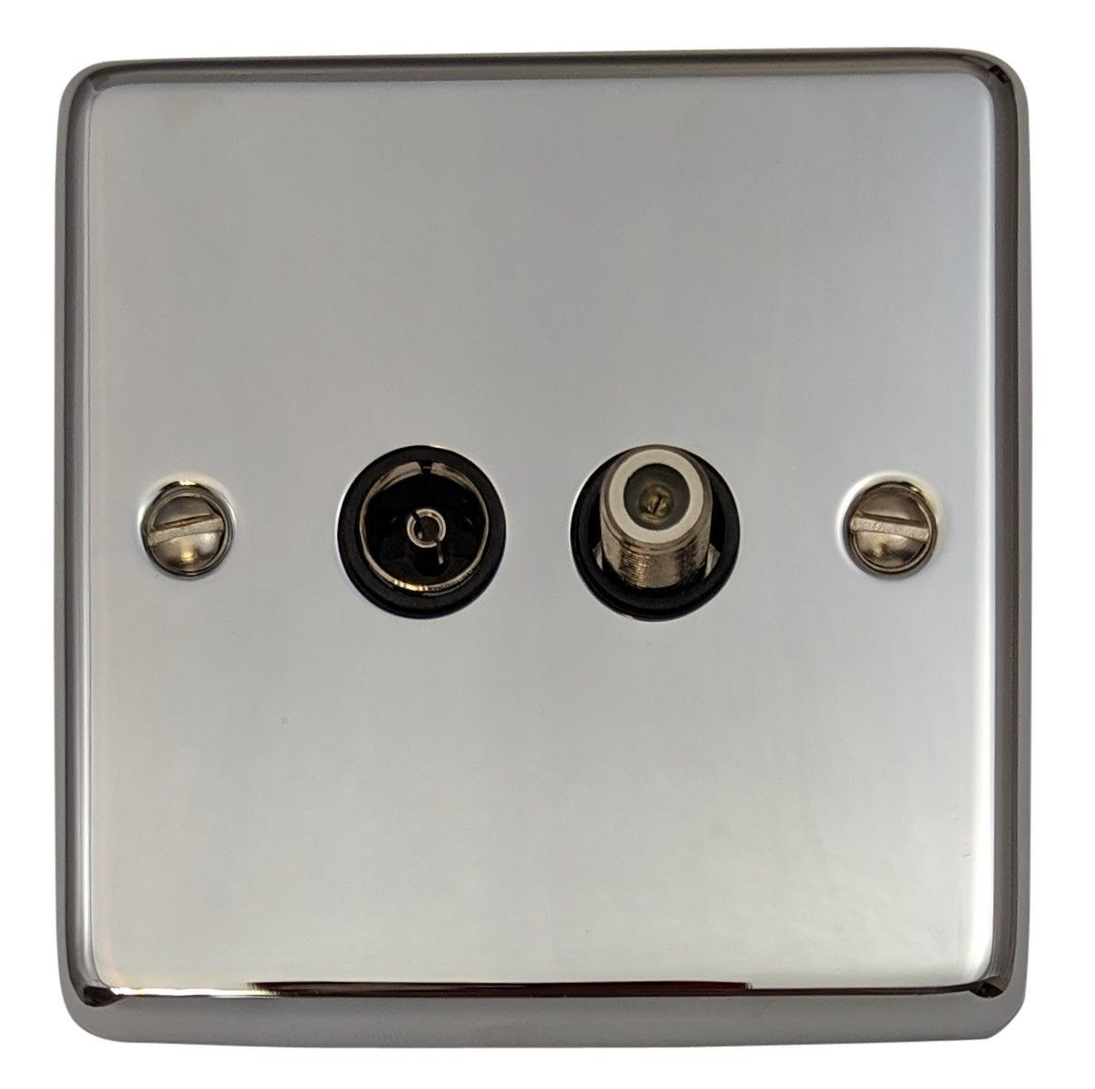 G&H CC38B Standard Plate Polished Chrome 1 Gang TV Coax & Satellite Socket Point