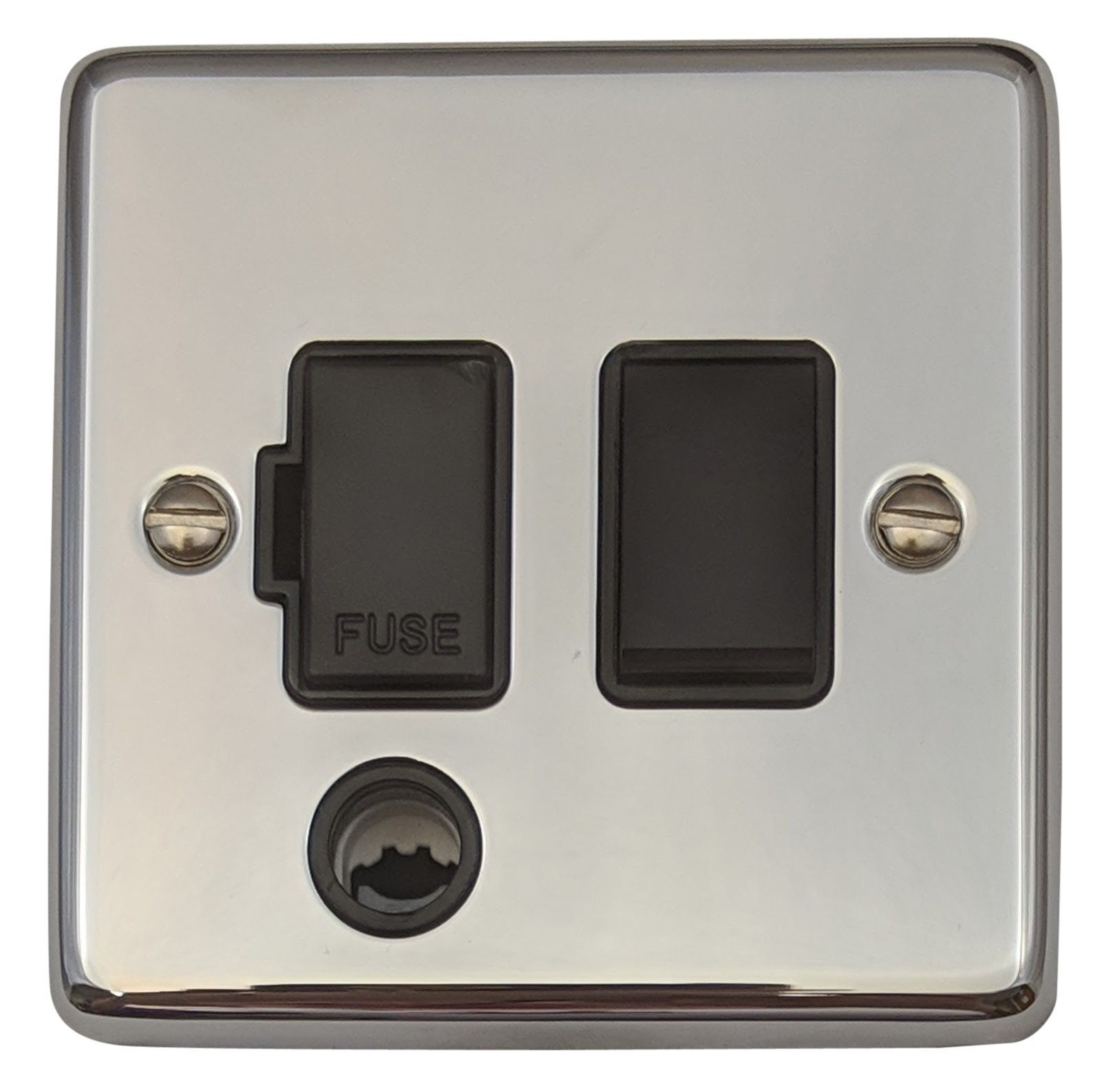 G&H CC56B Standard Plate Polished Chrome 1 Gang Fused Spur 13A Switched & Flex Outlet