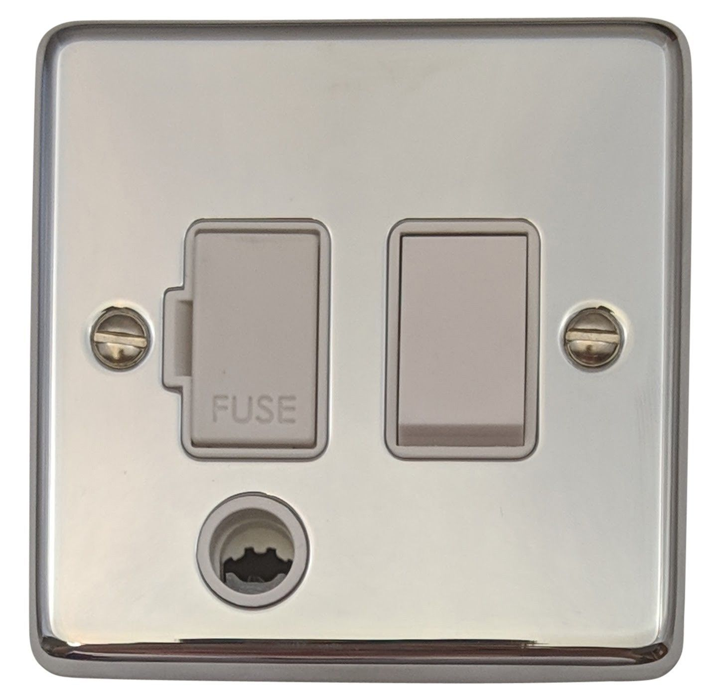 G&H CC56W Standard Plate Polished Chrome 1 Gang Fused Spur 13A Switched & Flex Outlet