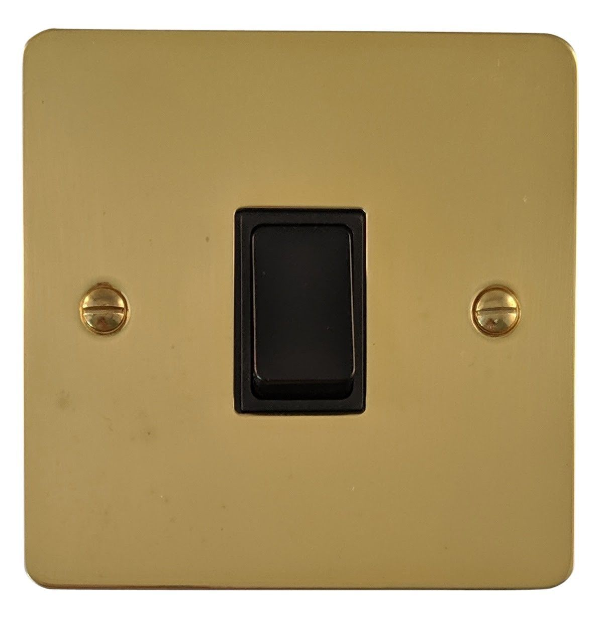 G&H FB1B Flat Plate Polished Brass 1 Gang 1 or 2 Way Rocker Light Switch