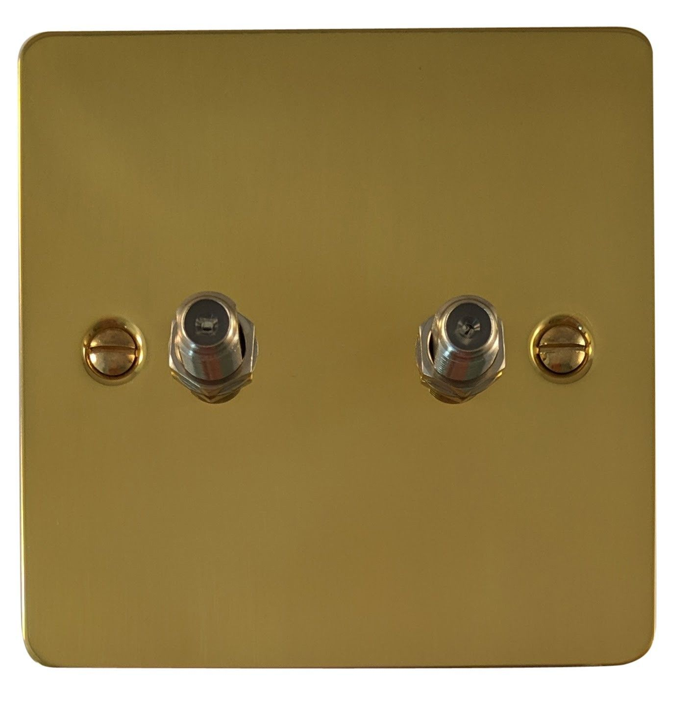 G&H FB237 Flat Plate Polished Brass 2 Gang Satellite Socket Point