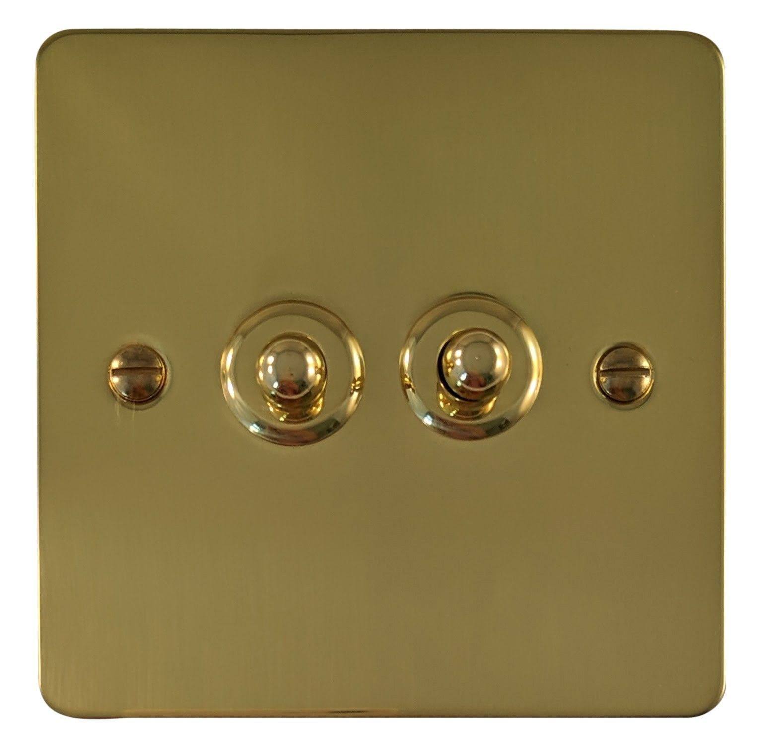 G&H FB282 Flat Plate Polished Brass 2 Gang 1 or 2 Way Toggle Light Switch