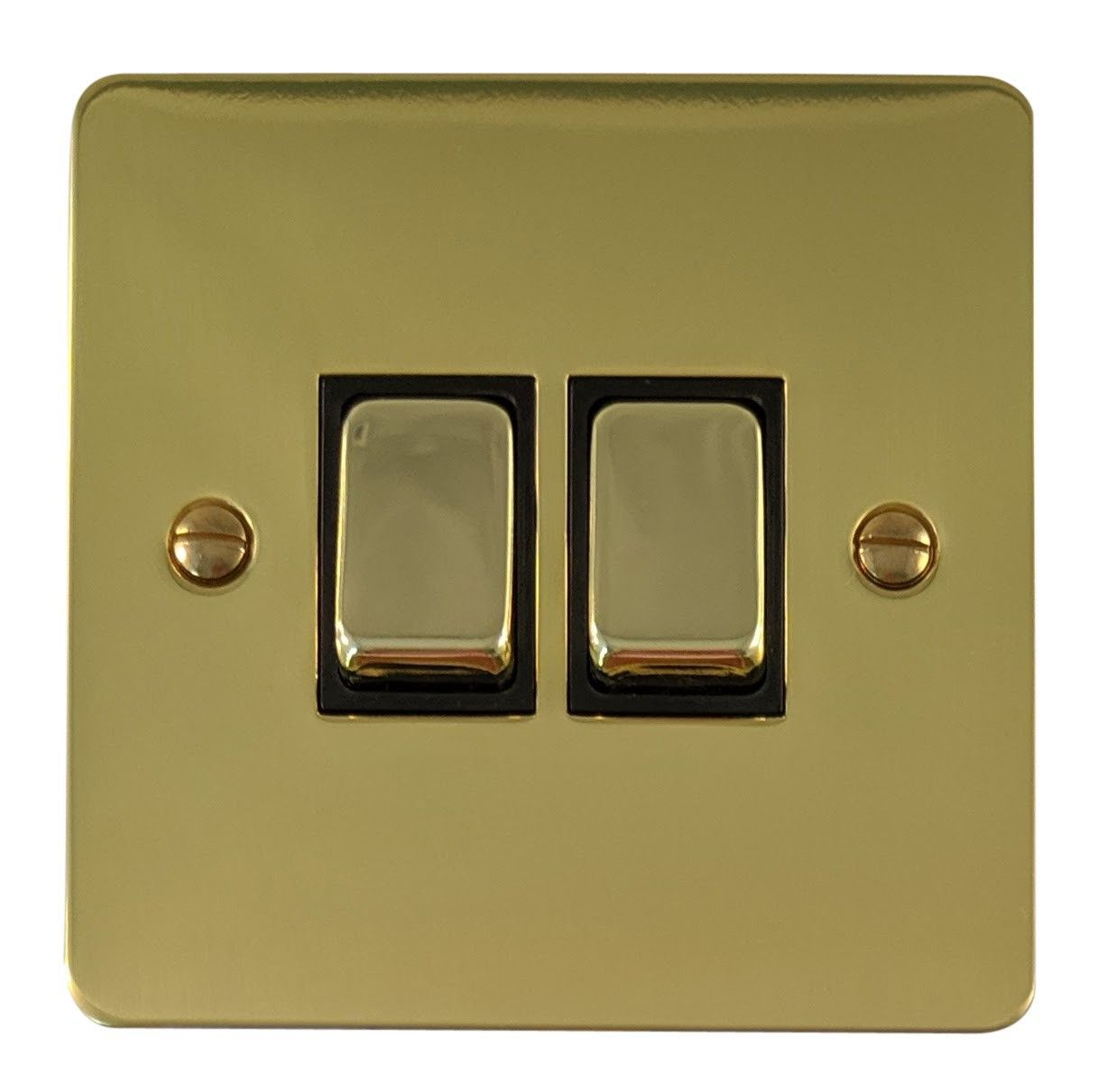 G&H FB302 Flat Plate Polished Brass 2 Gang 1 or 2 Way Rocker Light Switch