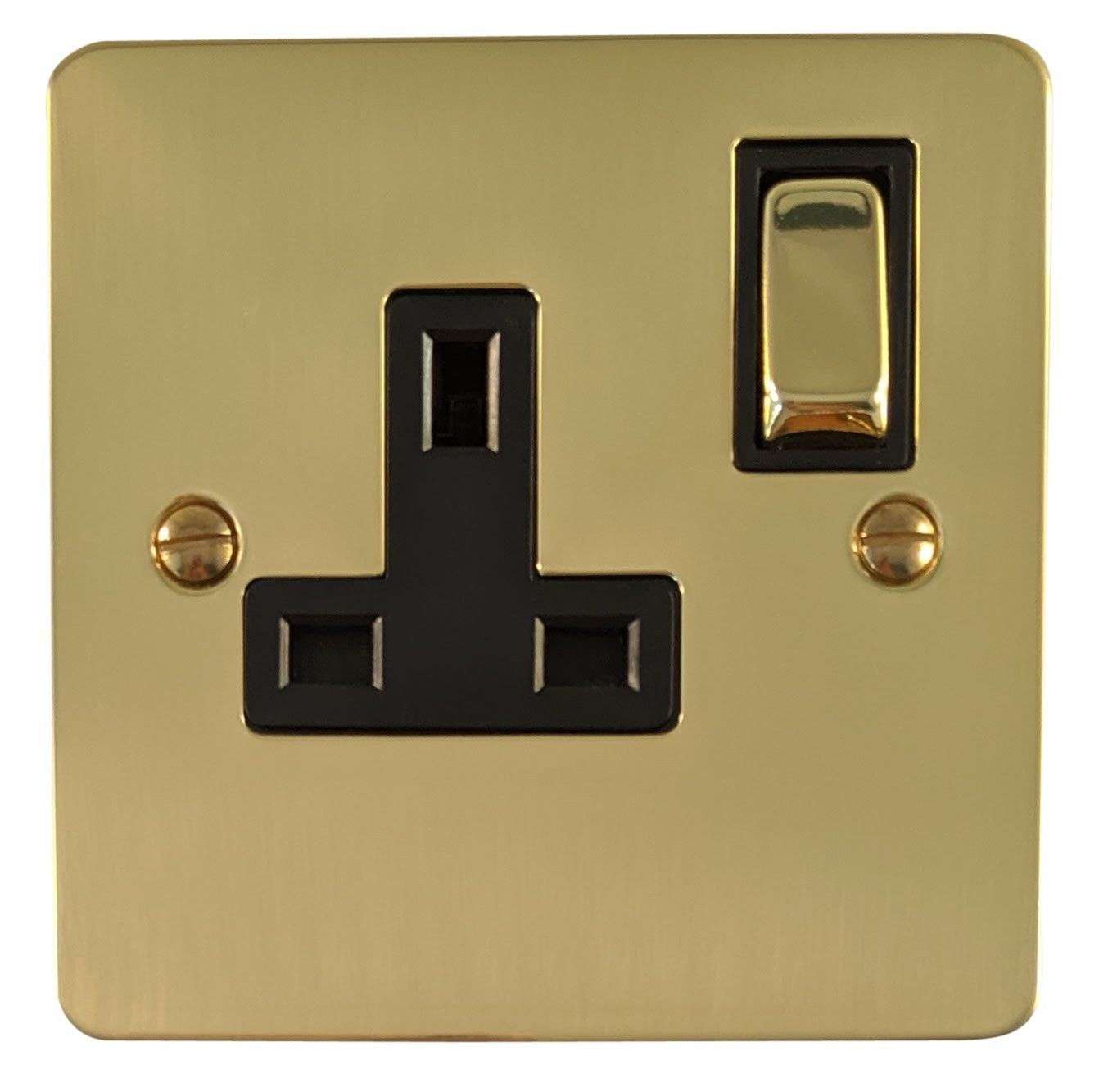 G&H FB309 Flat Plate Polished Brass 1 Gang Single 13A Switched Plug Socket