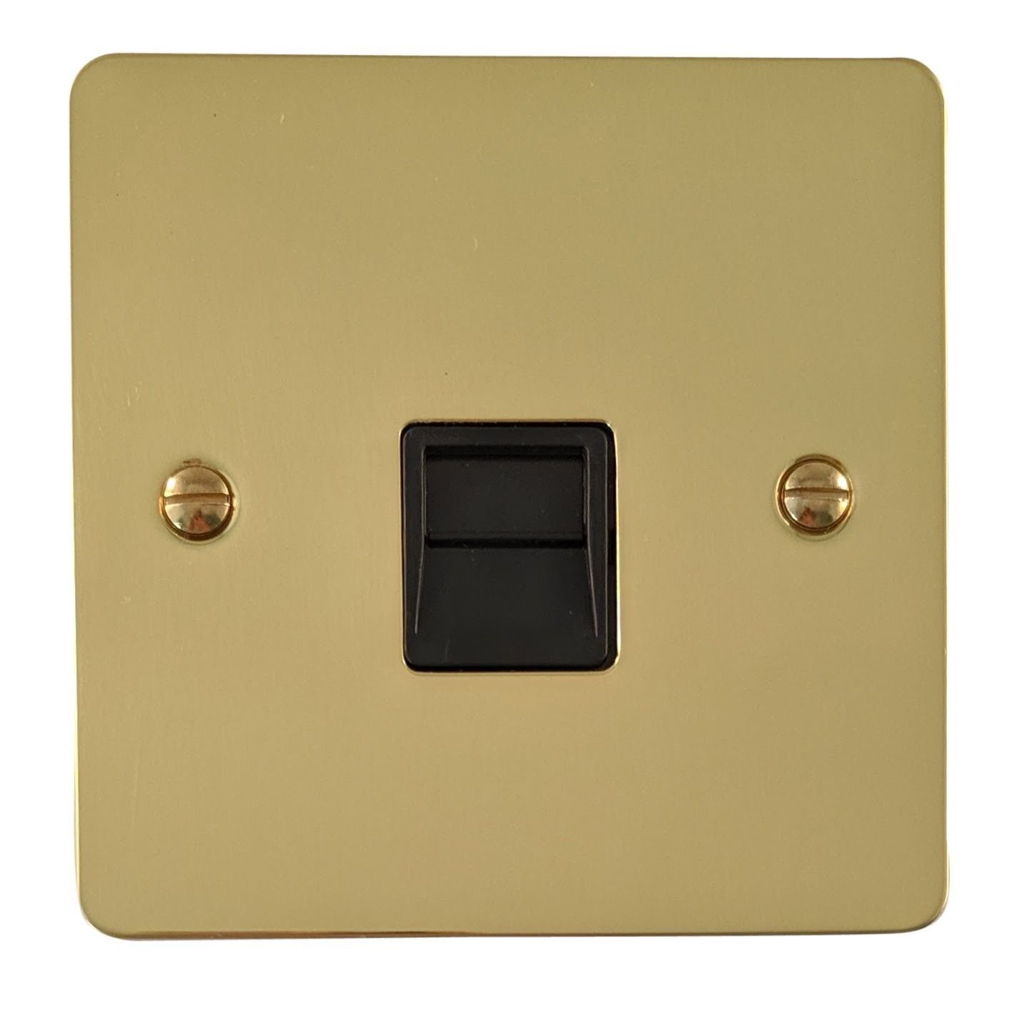 G&H FB34B Flat Plate Polished Brass 1 Gang Slave BT Telephone Socket