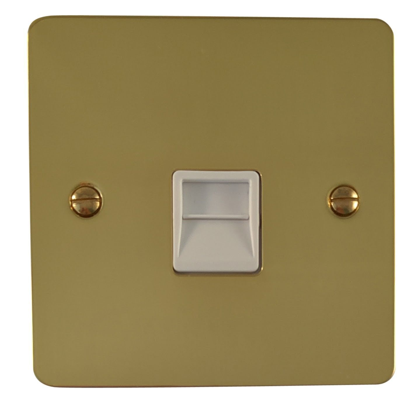 G&H FB34W Flat Plate Polished Brass 1 Gang Slave BT Telephone Socket
