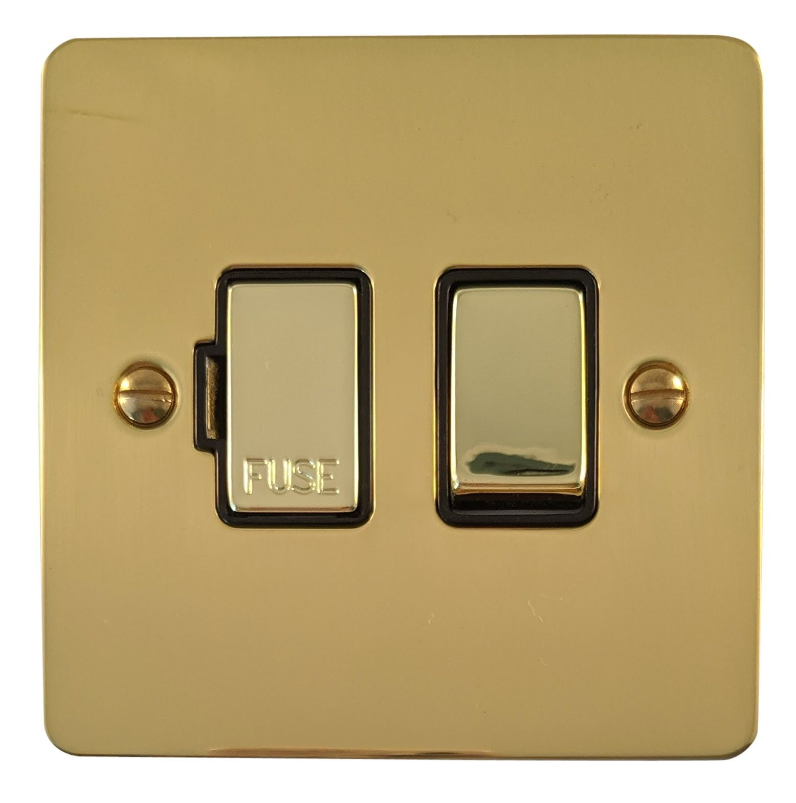 G&H FB357 Flat Plate Polished Brass 1 Gang Fused Spur 13A Switched