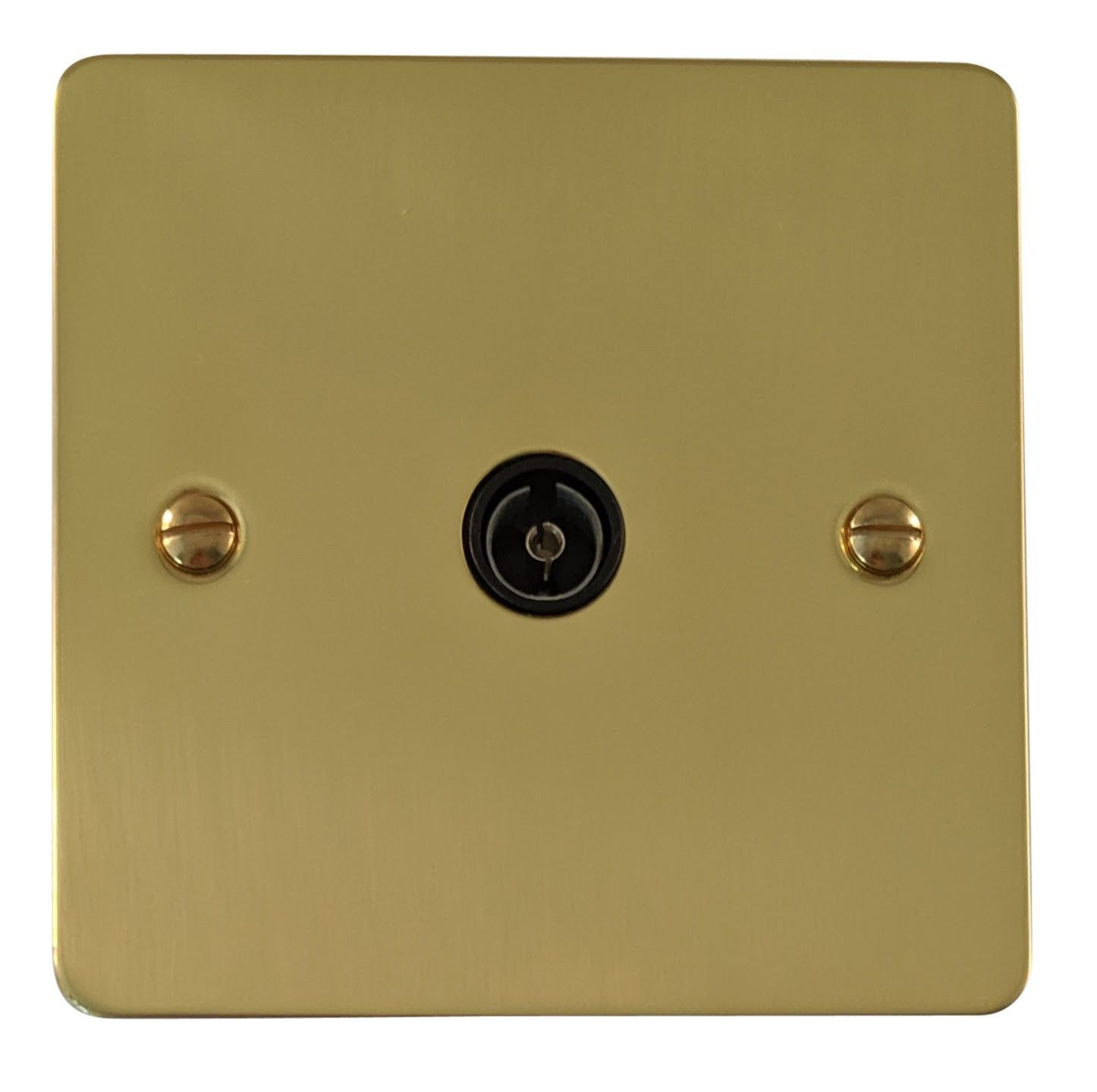G&H FB35B Flat Plate Polished Brass 1 Gang TV Coax Socket Point
