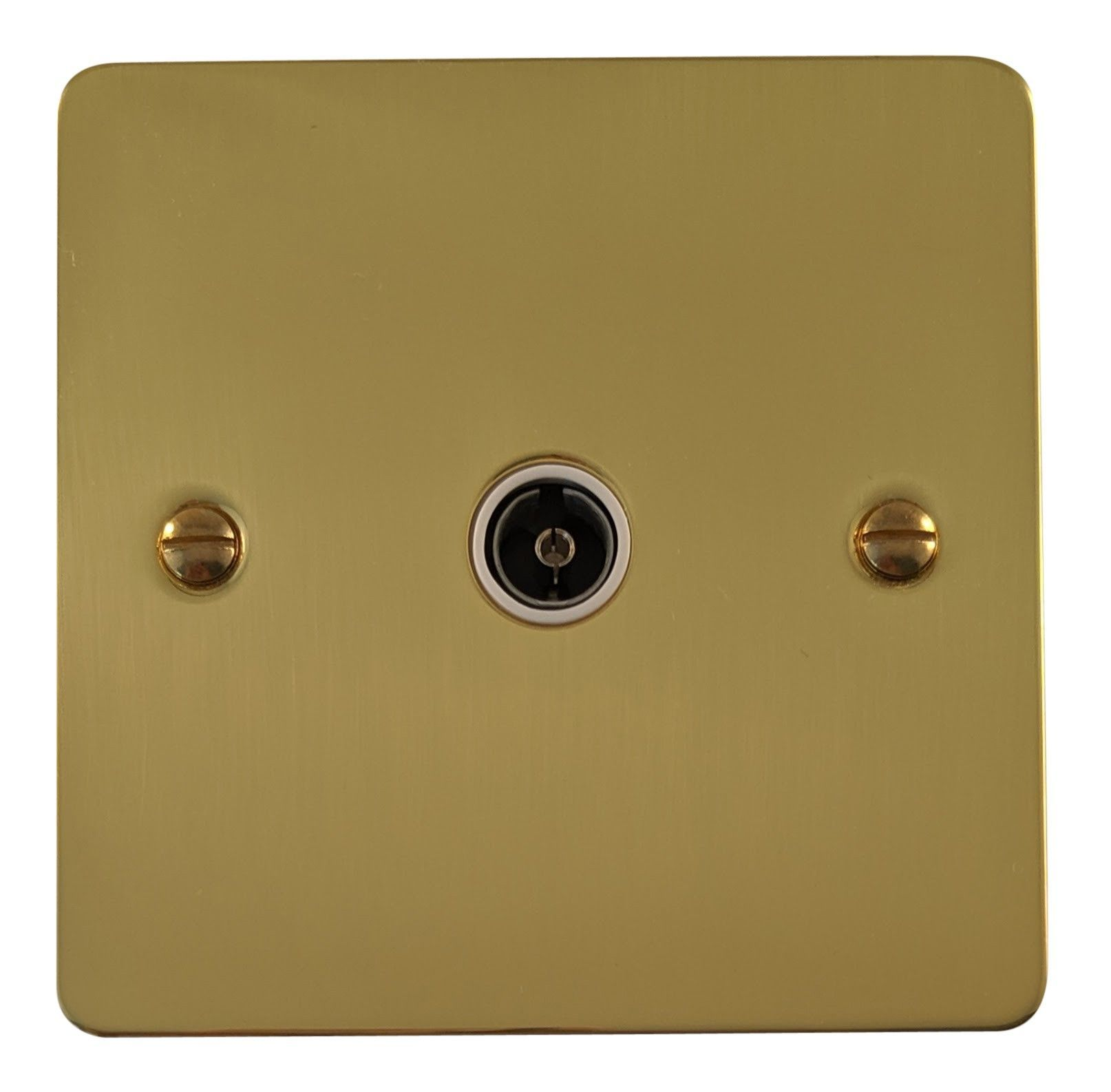 G&H FB35W Flat Plate Polished Brass 1 Gang TV Coax Socket Point