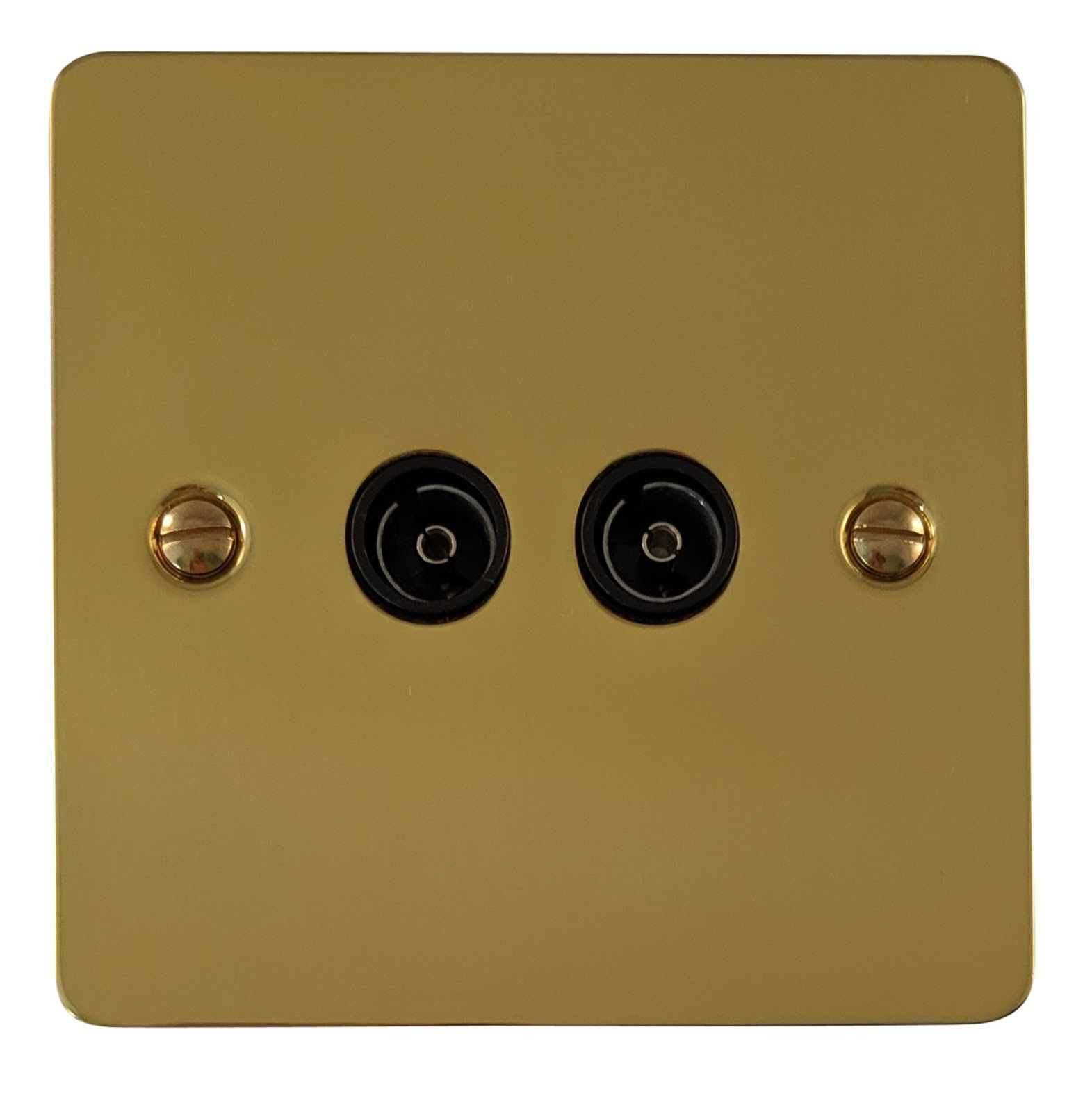 G&H FB36B Flat Plate Polished Brass 2 Gang TV Coax Socket Point