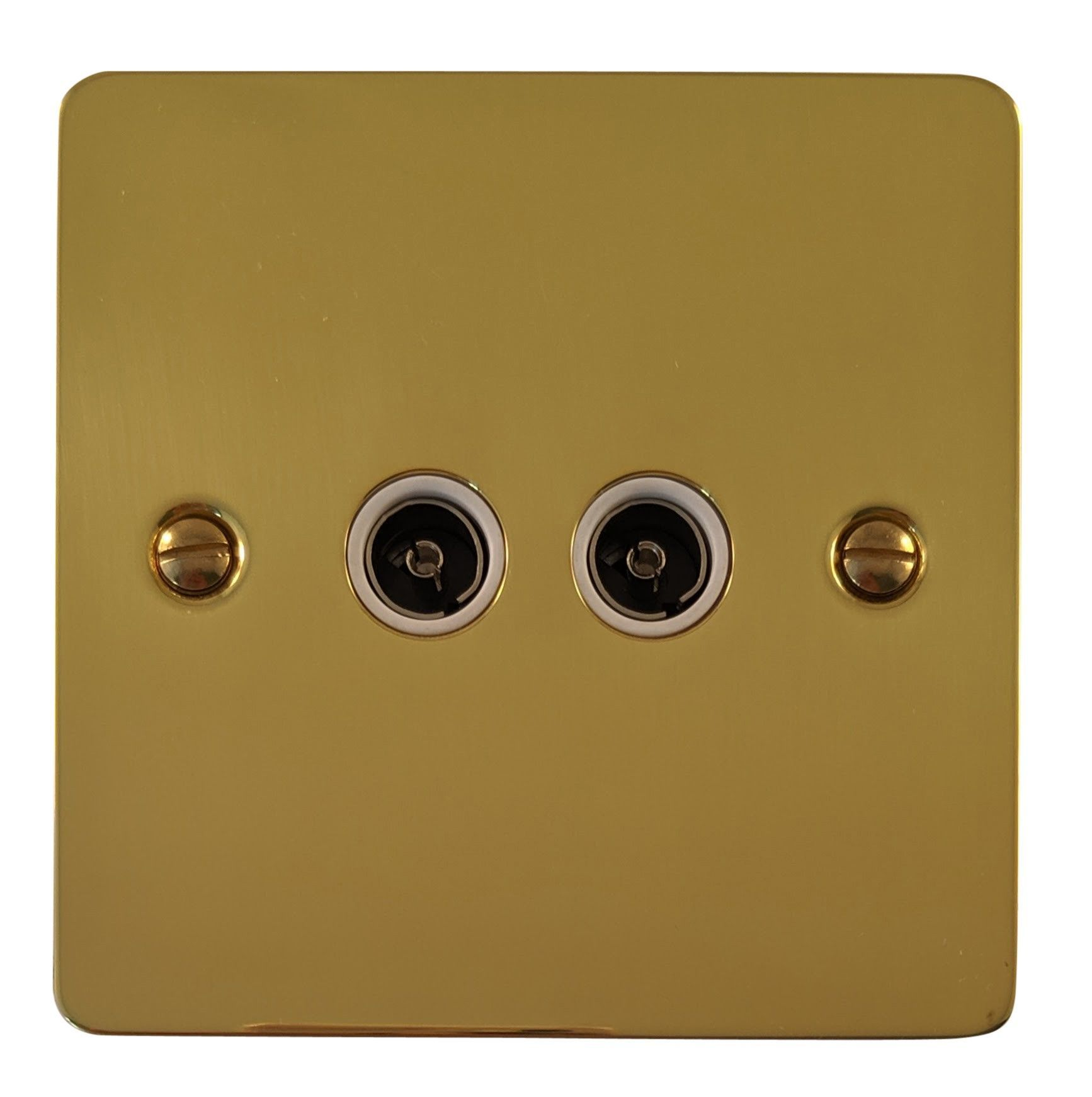 G&H FB36W Flat Plate Polished Brass 2 Gang TV Coax Socket Point