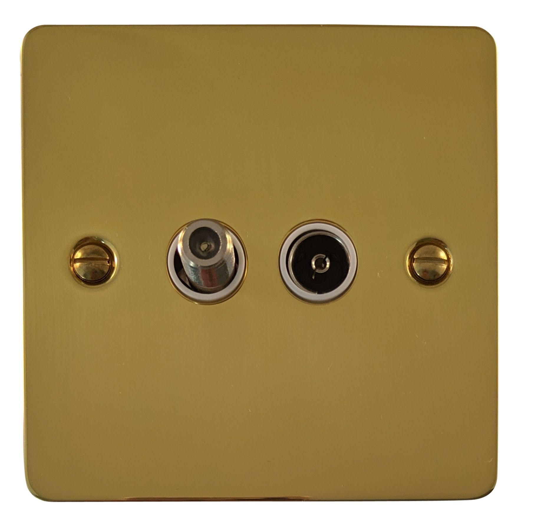G&H FB38W Flat Plate Polished Brass 1 Gang TV Coax & Satellite Socket Point