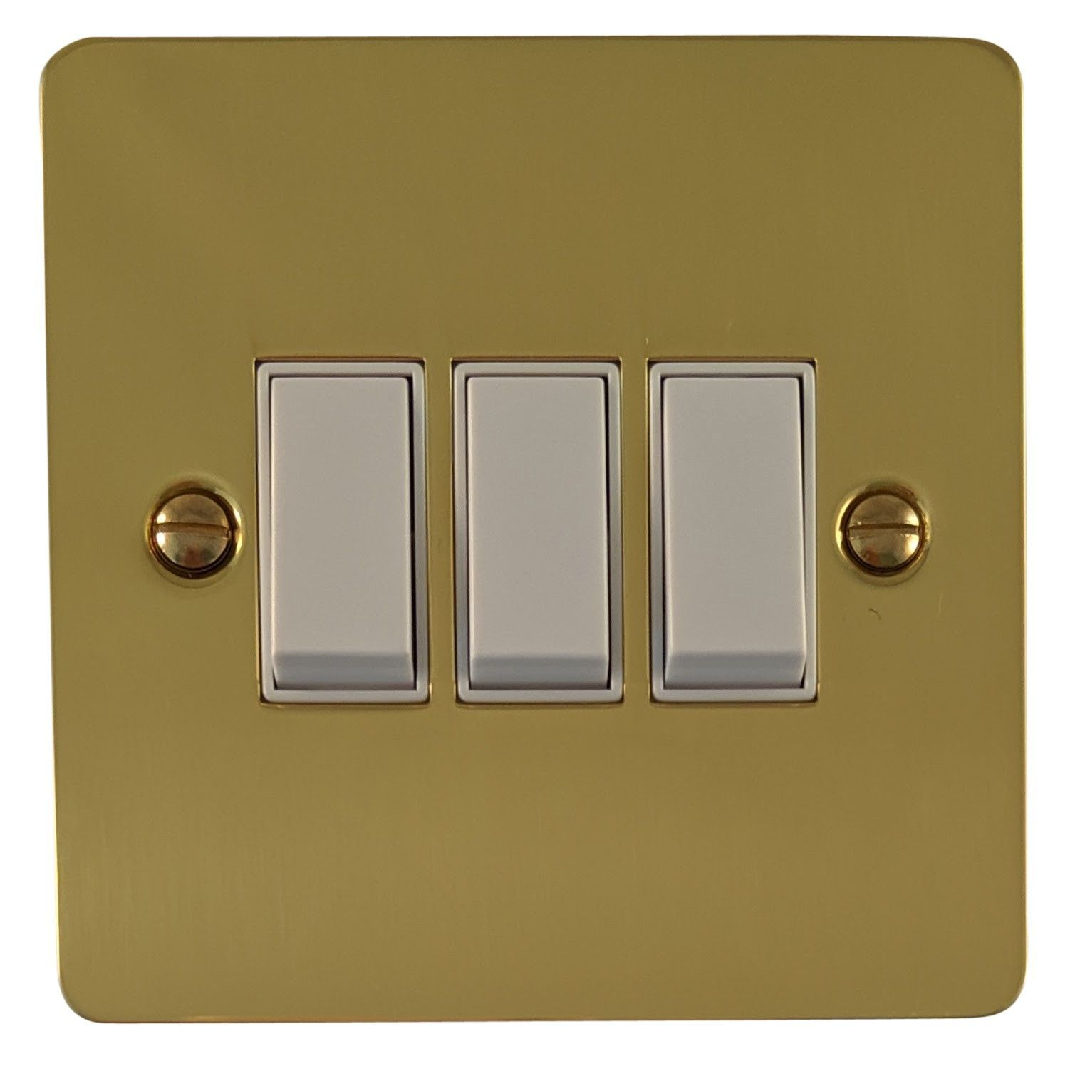 G&H FB3W Flat Plate Polished Brass 3 Gang 1 or 2 Way Rocker Light Switch