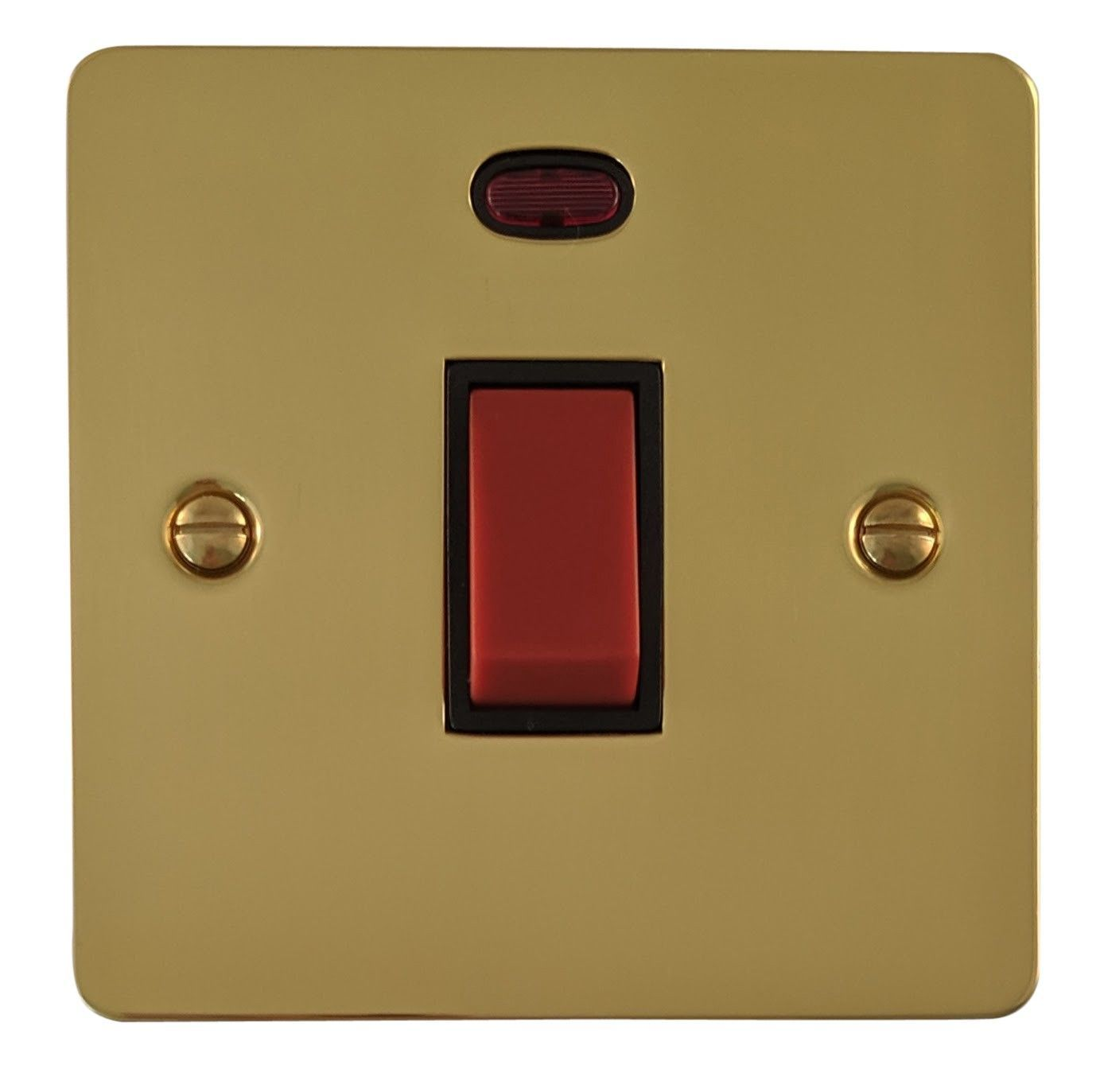 G&H FB46B Flat Plate Polished Brass 45 Amp DP Cooker Switch & Neon Single Plate