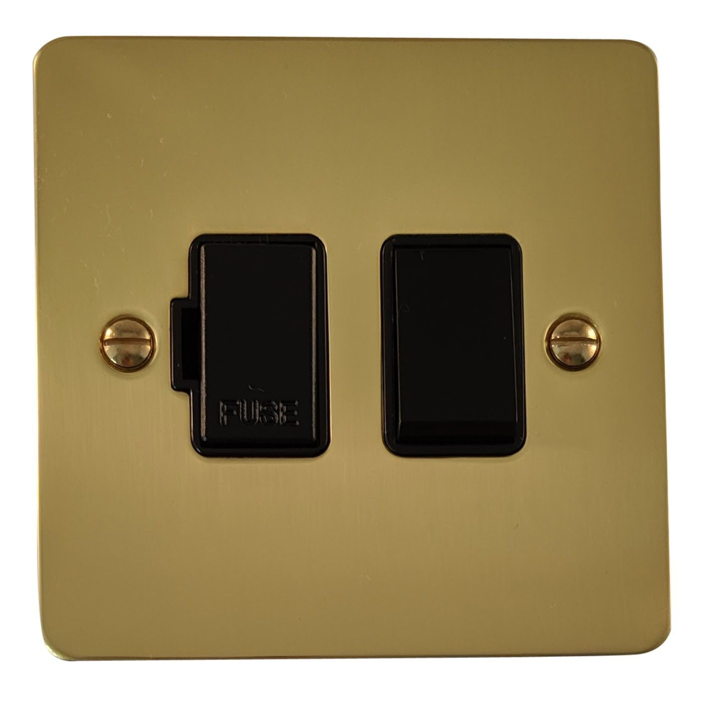 G&H FB57B Flat Plate Polished Brass 1 Gang Fused Spur 13A Switched