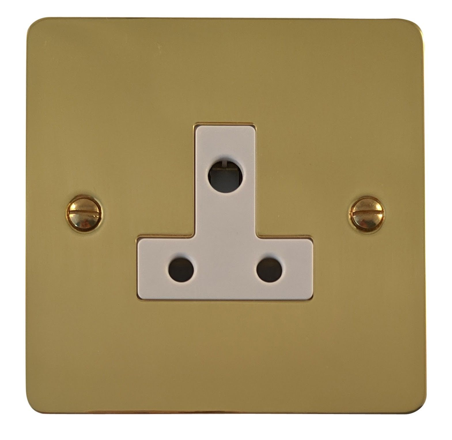 G&H FB59W Flat Plate Polished Brass 1 Gang Single 5 Amp Plug Socket