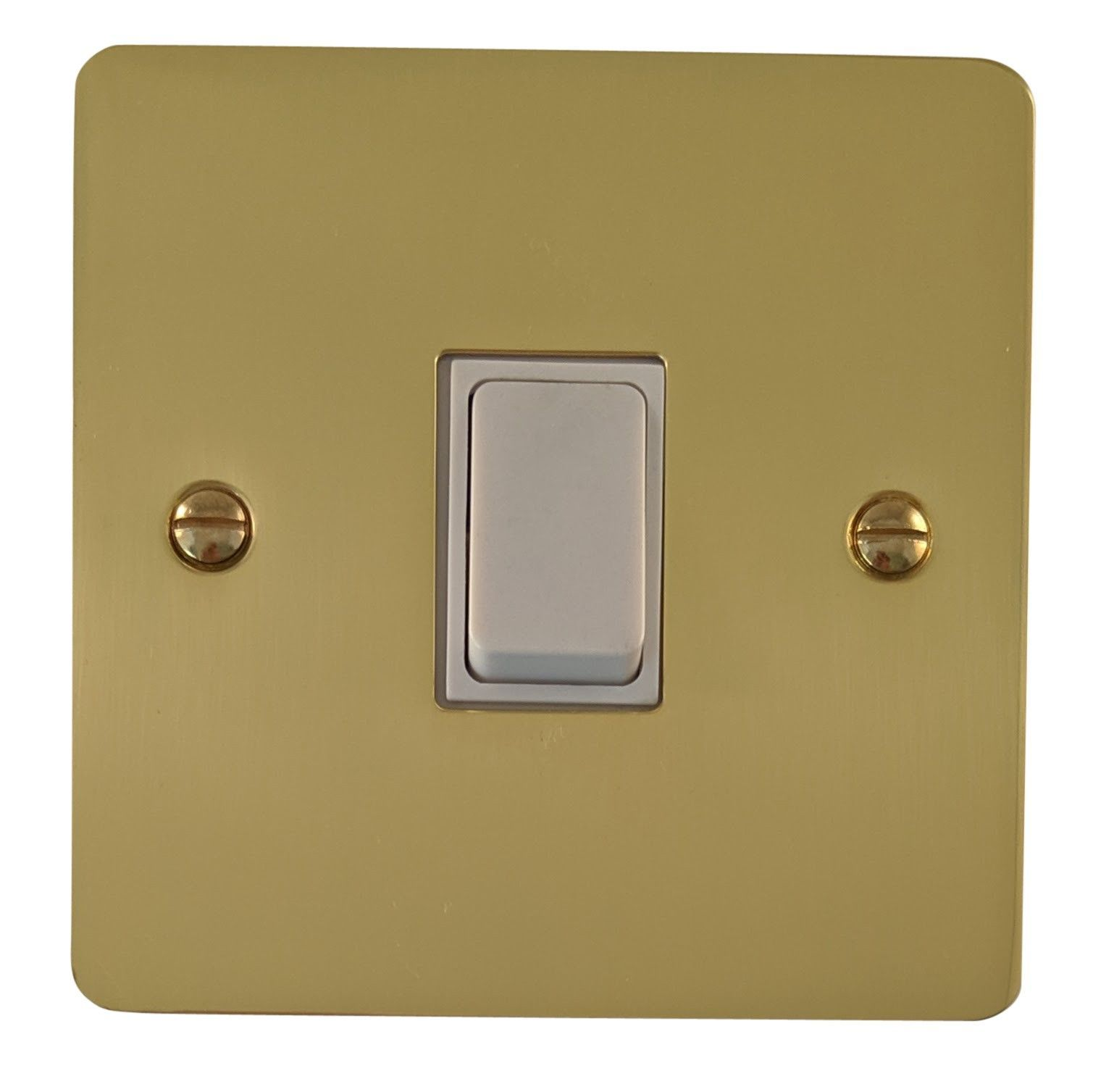 G&H FB5W Flat Plate Polished Brass 1 Gang Intermediate Rocker Light Switch