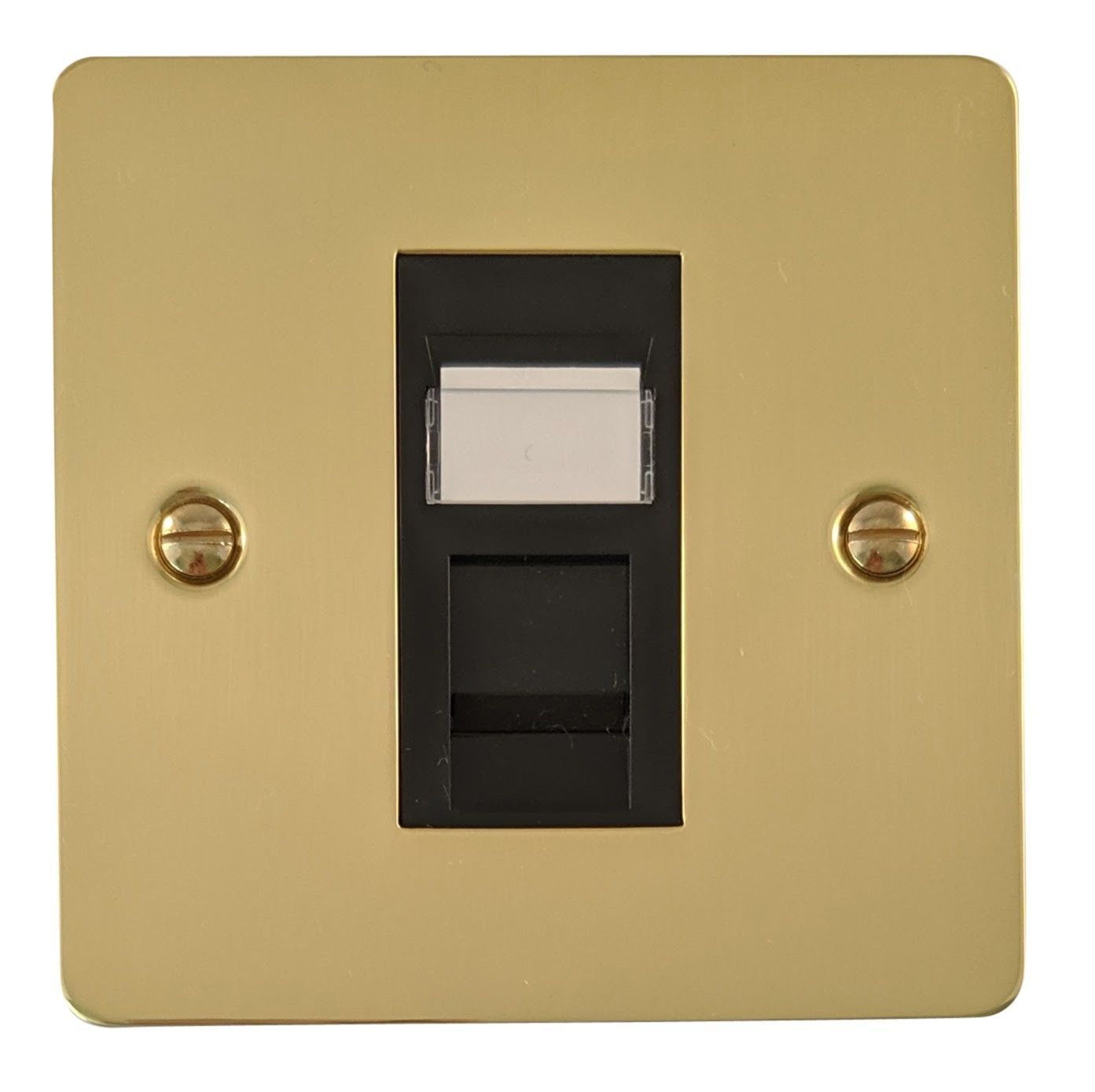 G&H FB61B Flat Plate Polished Brass 1 Gang RJ45 Cat5e Data Socket