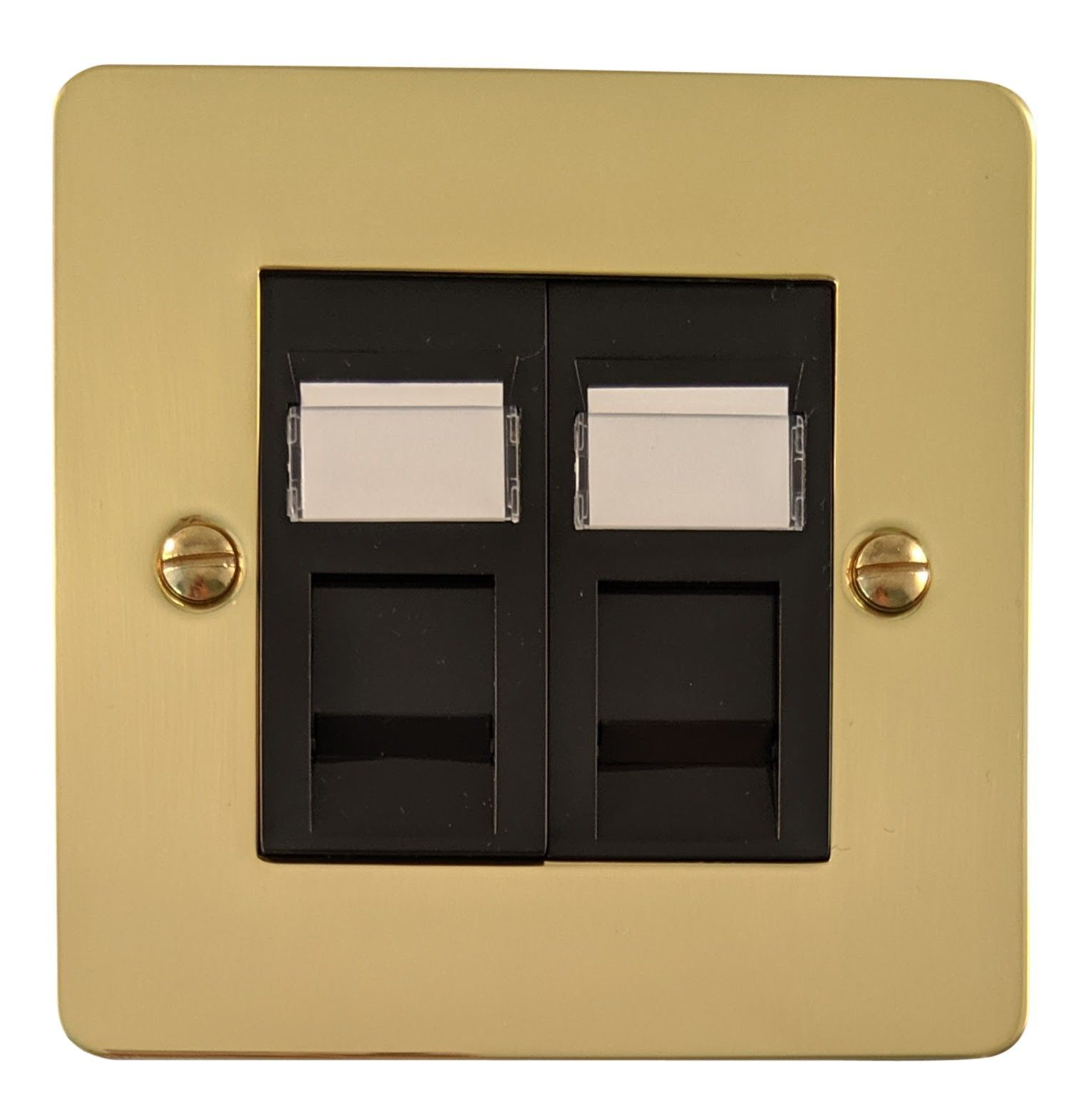 G&H FB63B Flat Plate Polished Brass 2 Gang Master BT Telephone Socket