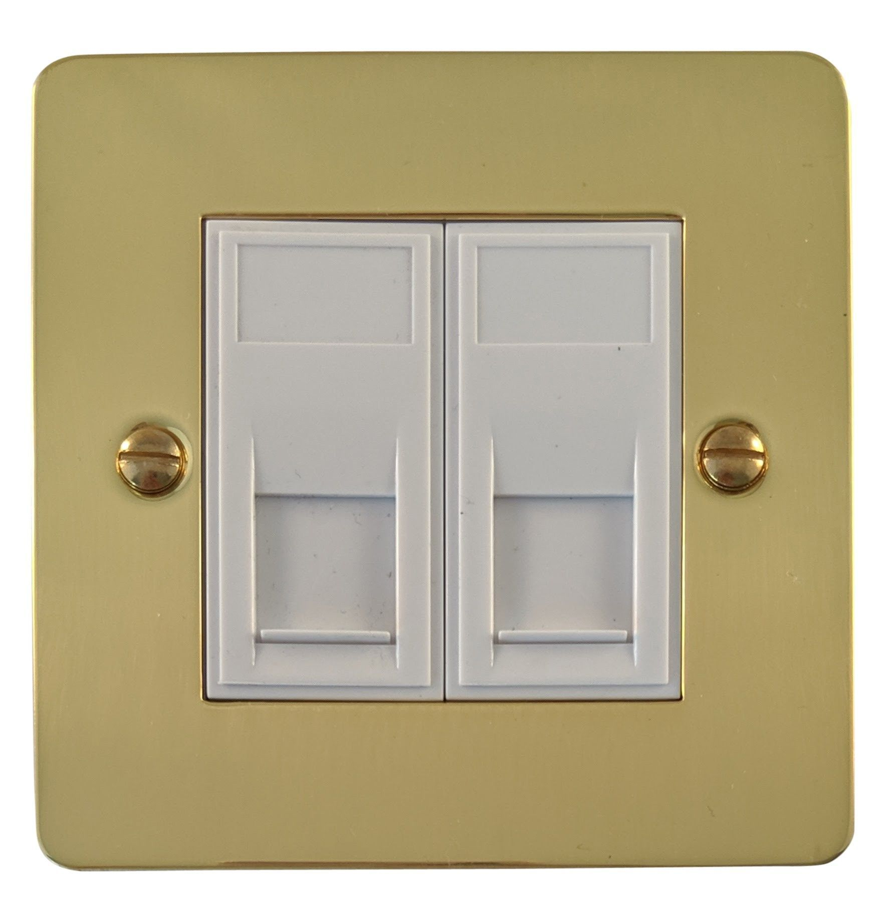 G&H FB64W Flat Plate Polished Brass 2 Gang Slave BT Telephone Socket