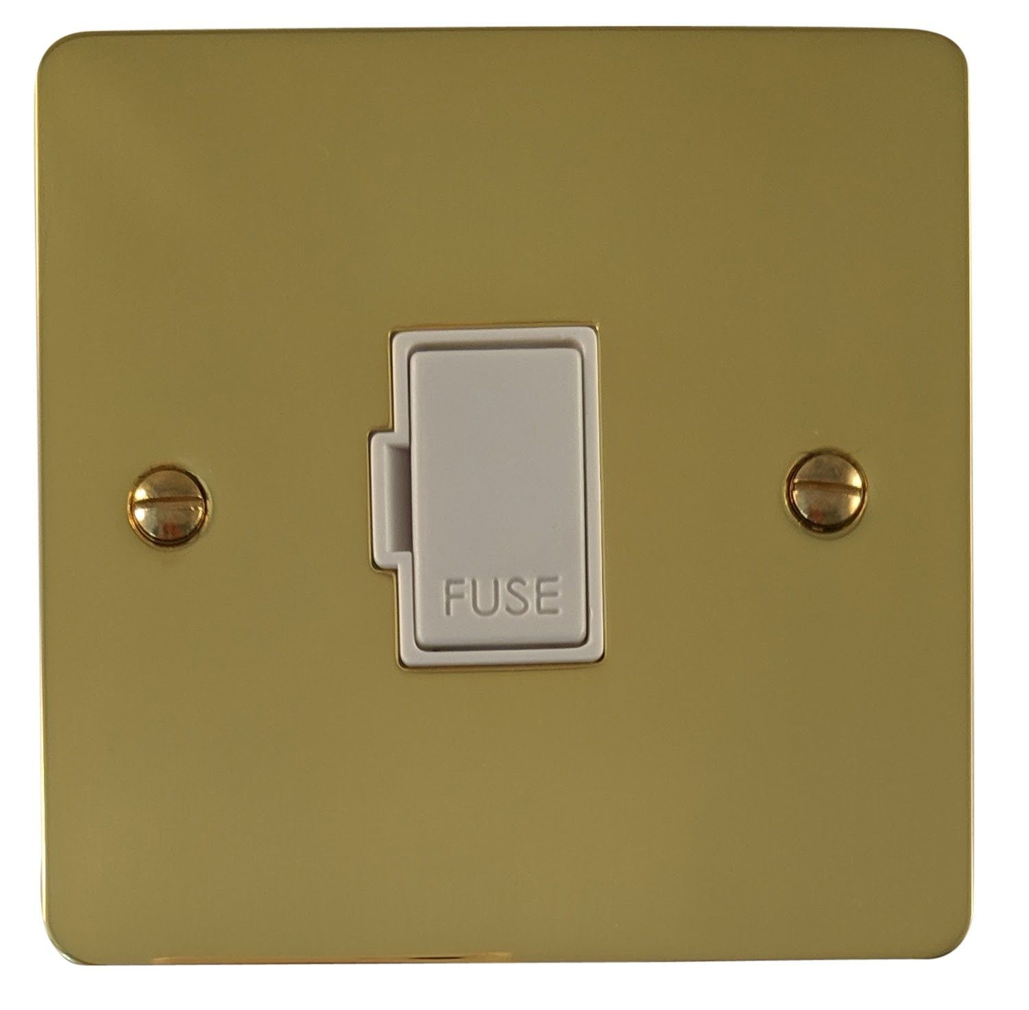 G&H FB90W Flat Plate Polished Brass 1 Gang Fused Spur 13A Unswitched