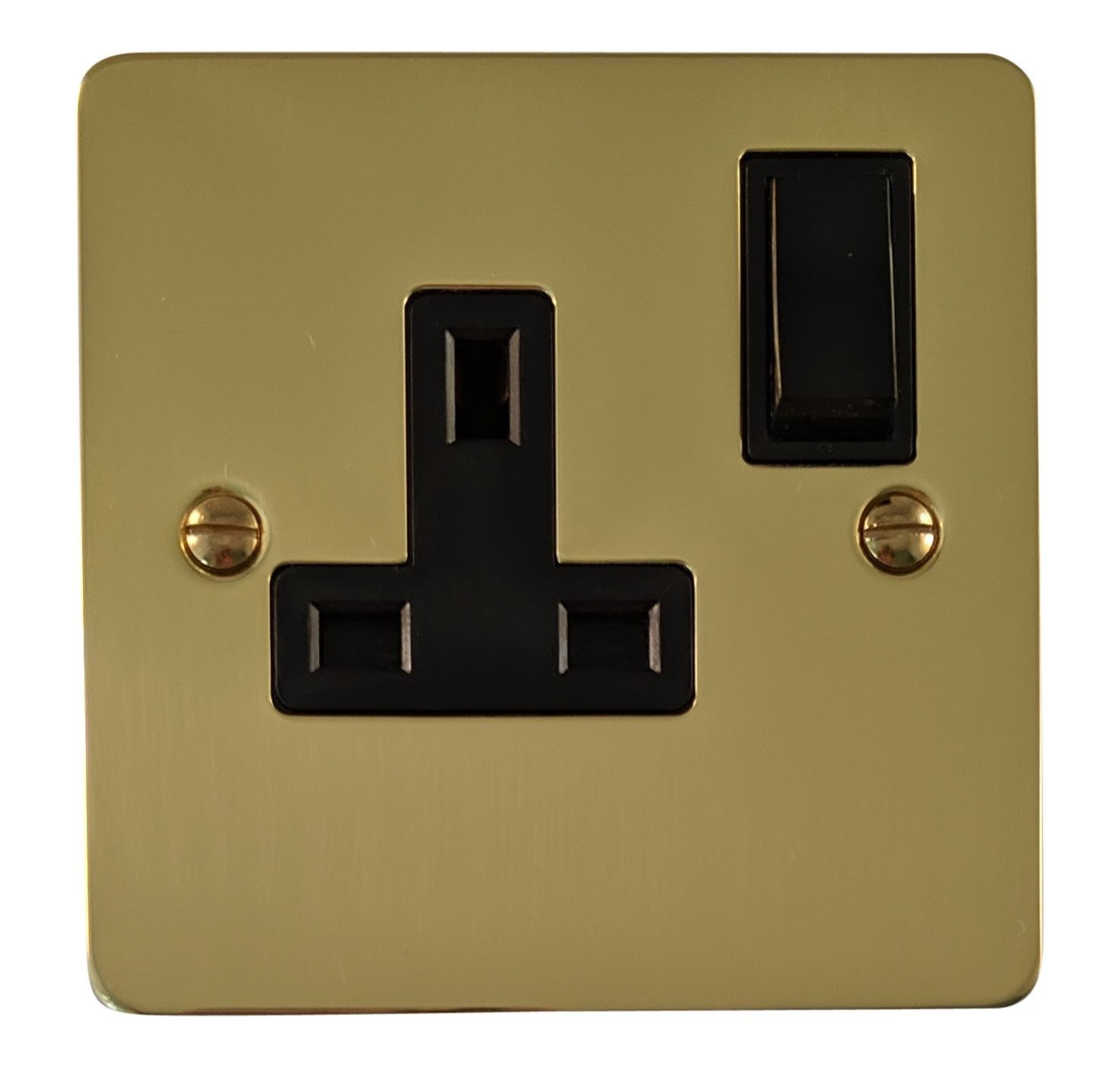 G&H FB9B Flat Plate Polished Brass 1 Gang Single 13A Switched Plug Socket