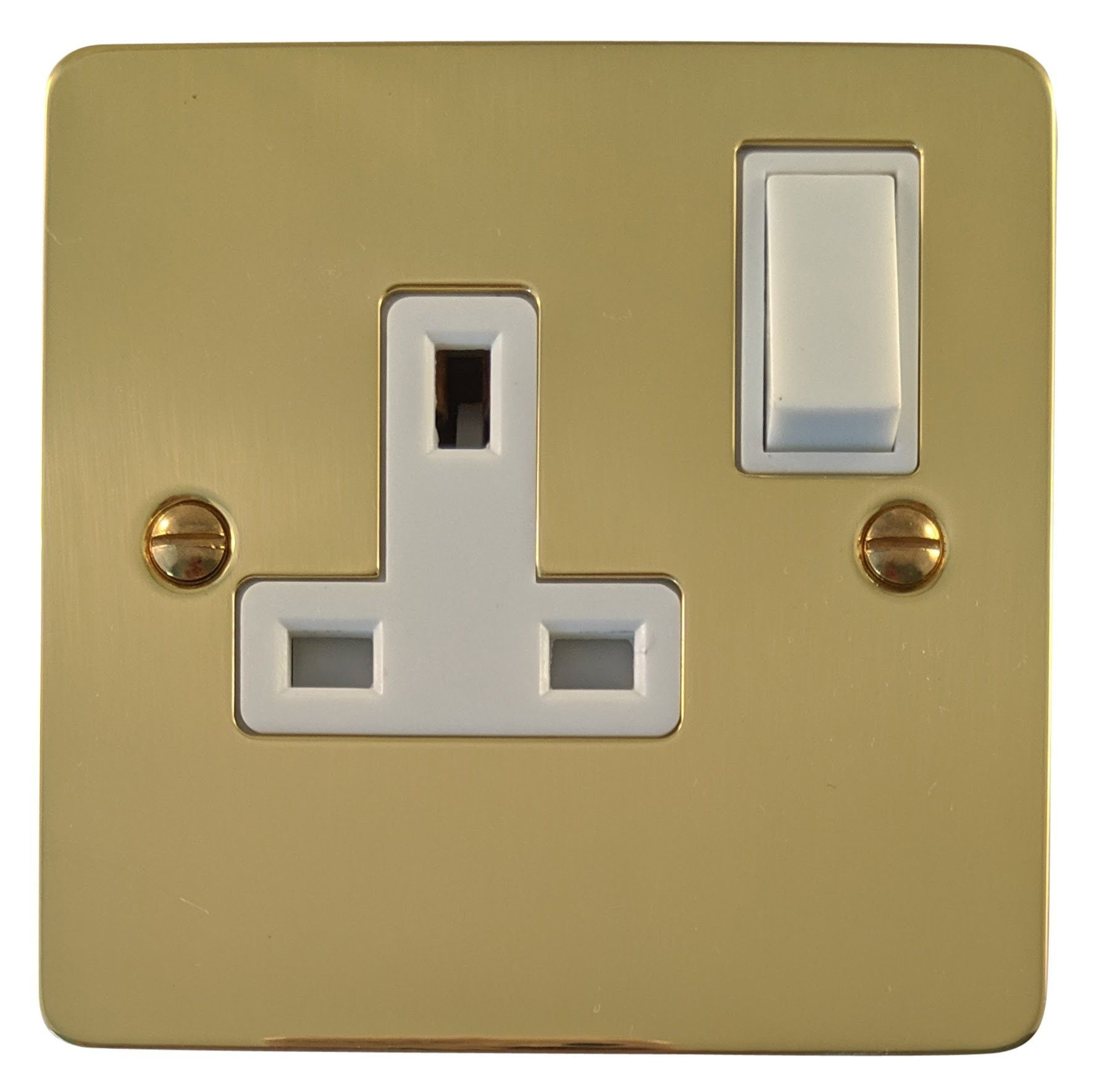 G&H FB9W Flat Plate Polished Brass 1 Gang Single 13A Switched Plug Socket