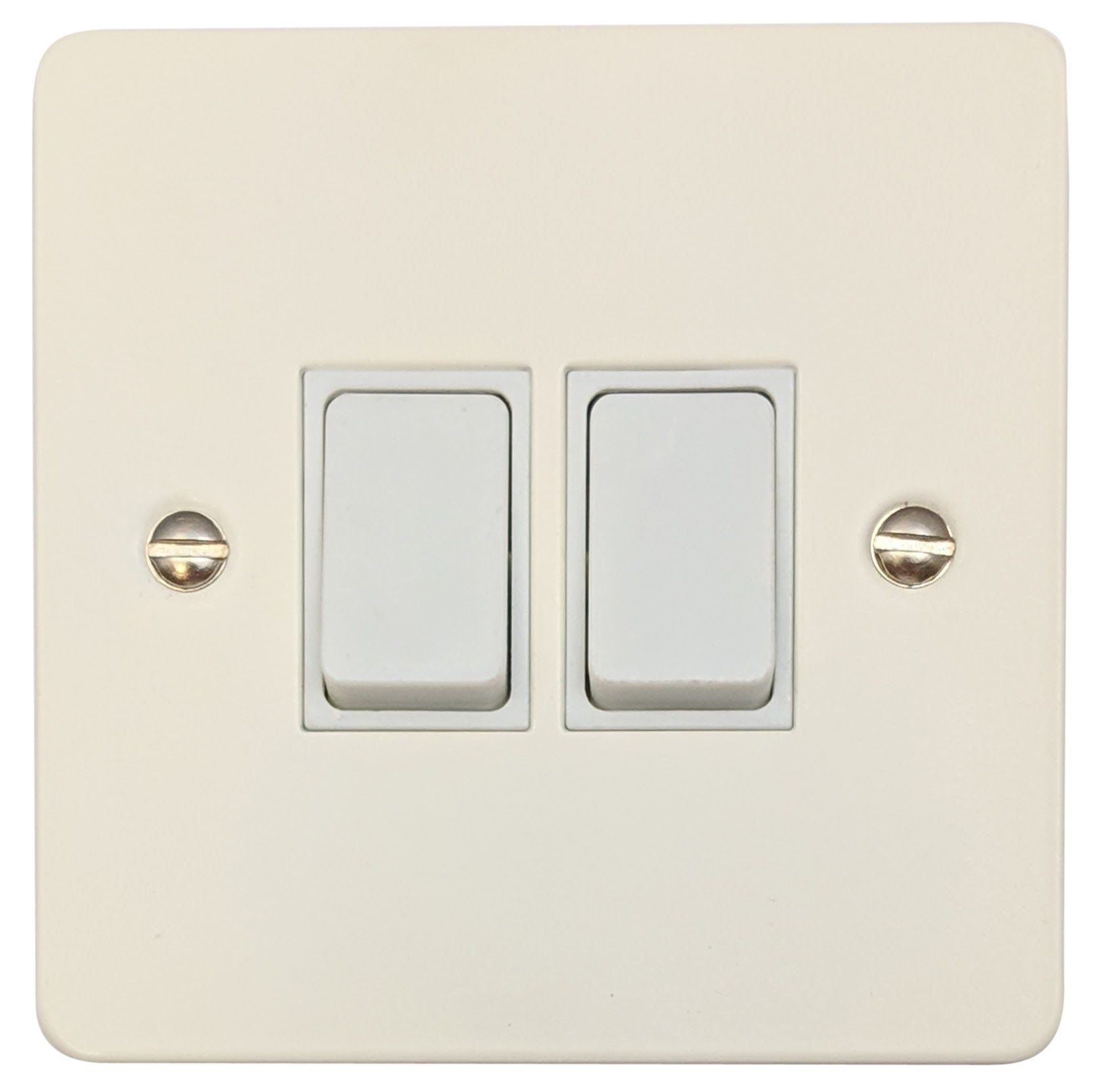 G&H FW2W Flat Plate Matt White 2 Gang 1 or 2 Way Rocker Light Switch ...