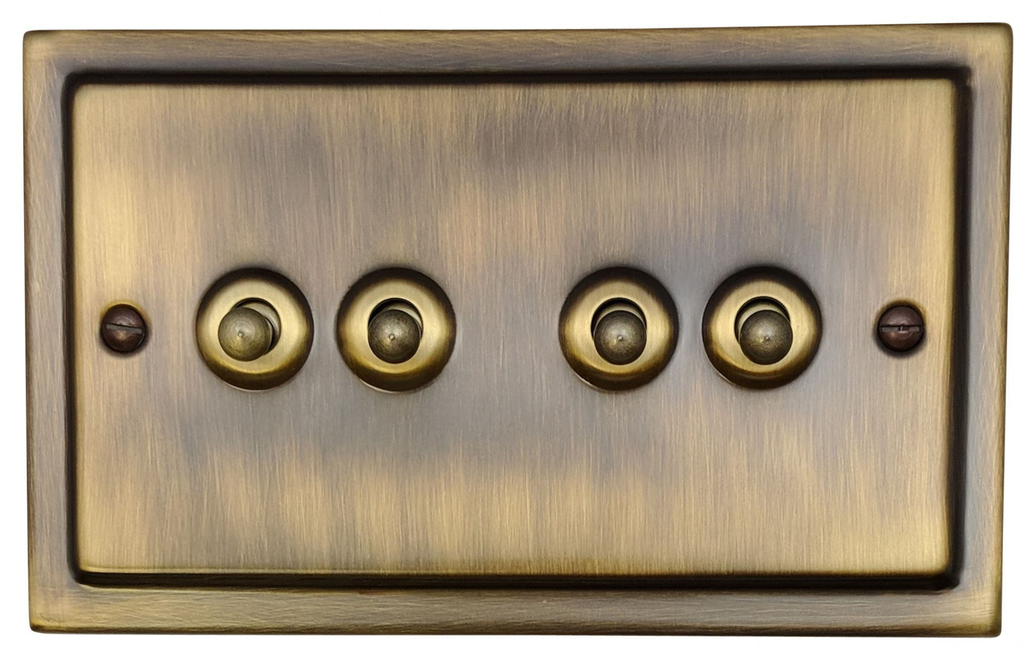 G H Tab284 Trimline Plate Antique Bronze 4 Gang 1 Or 2 Way Toggle Light Switch