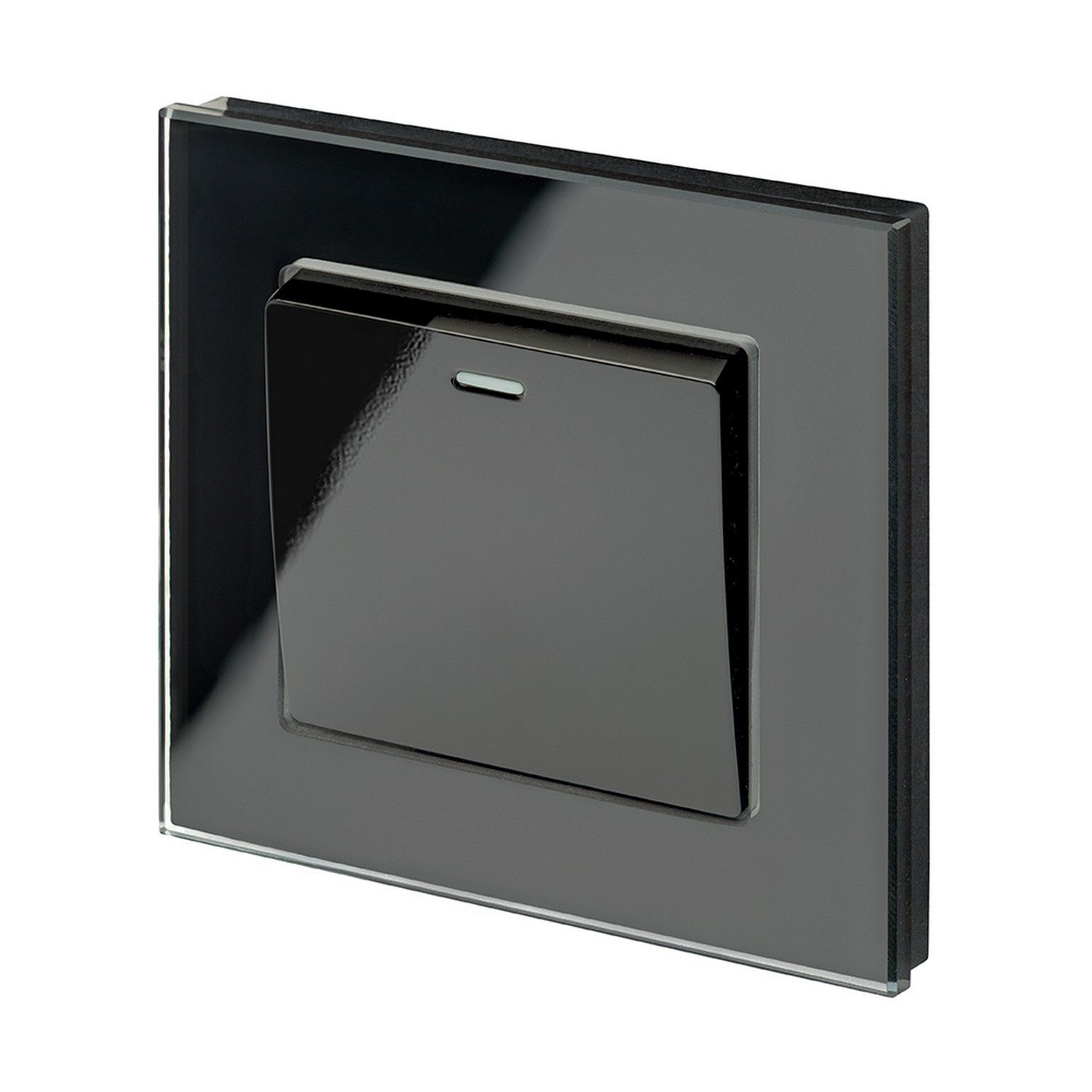 RetroTouch 1 Gang 1 or 2 Way 10A Rocker Light Switch Black Glass PG ...