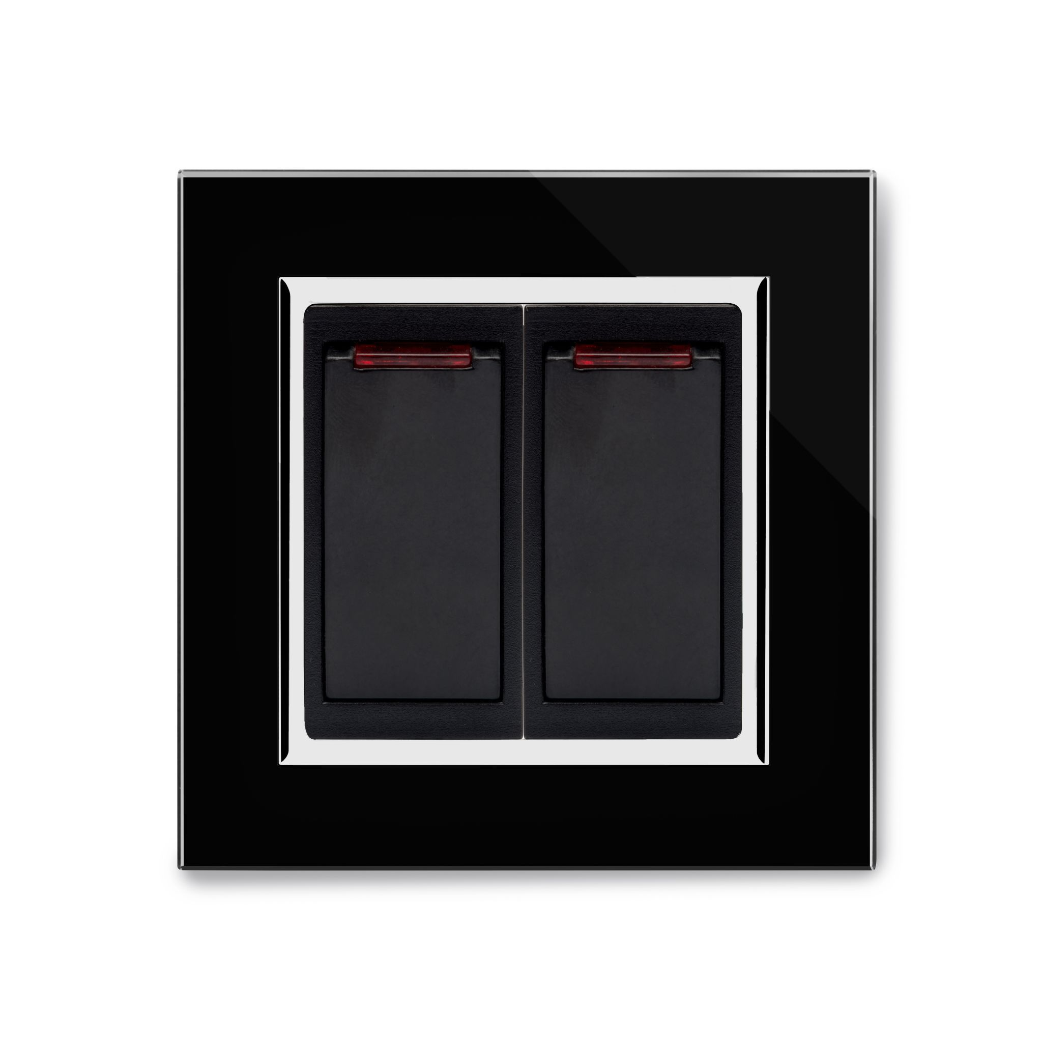 RetroTouch 20 Amp Double Pole Dual Switch with Neon Black Glass CT ...