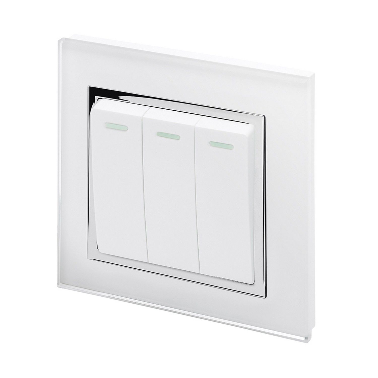 Retrotouch 3 Gang 1 Or 2 Way 10a Rocker Light Switch White Glass Ct Pole 00231
