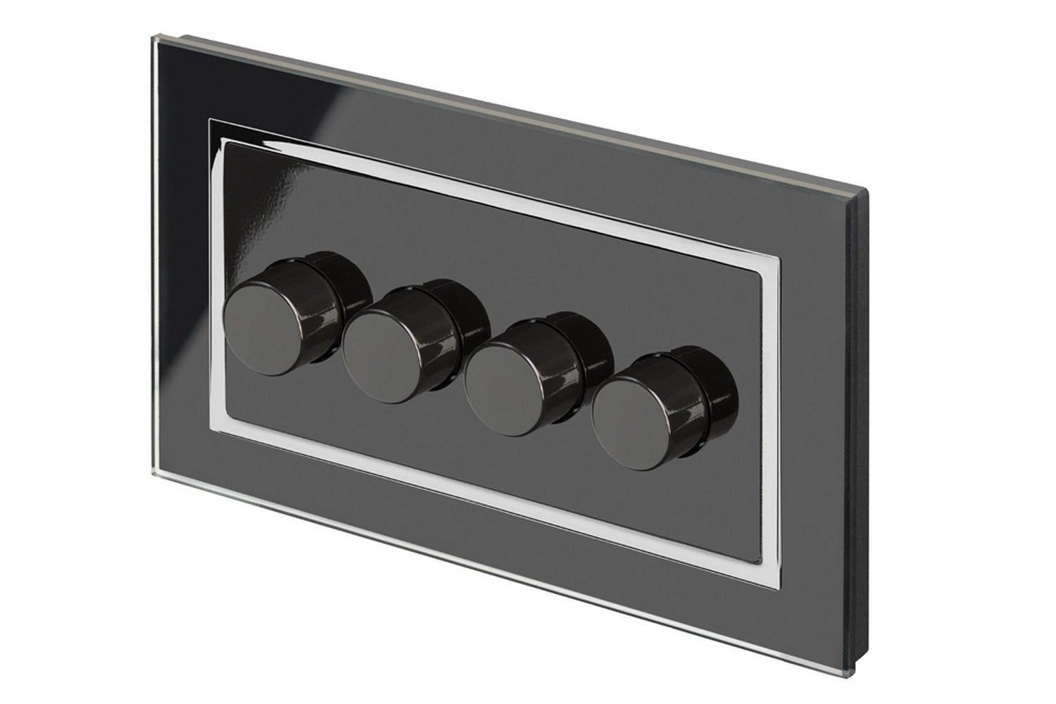 Retrotouch 4 Gang 2 Way Dimmer Switch 3 200w Led Halogen Black Light Glass Ct 02101
