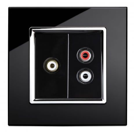 RetroTouch AUDIO / VIDEO Socket Black Glass CT 00296