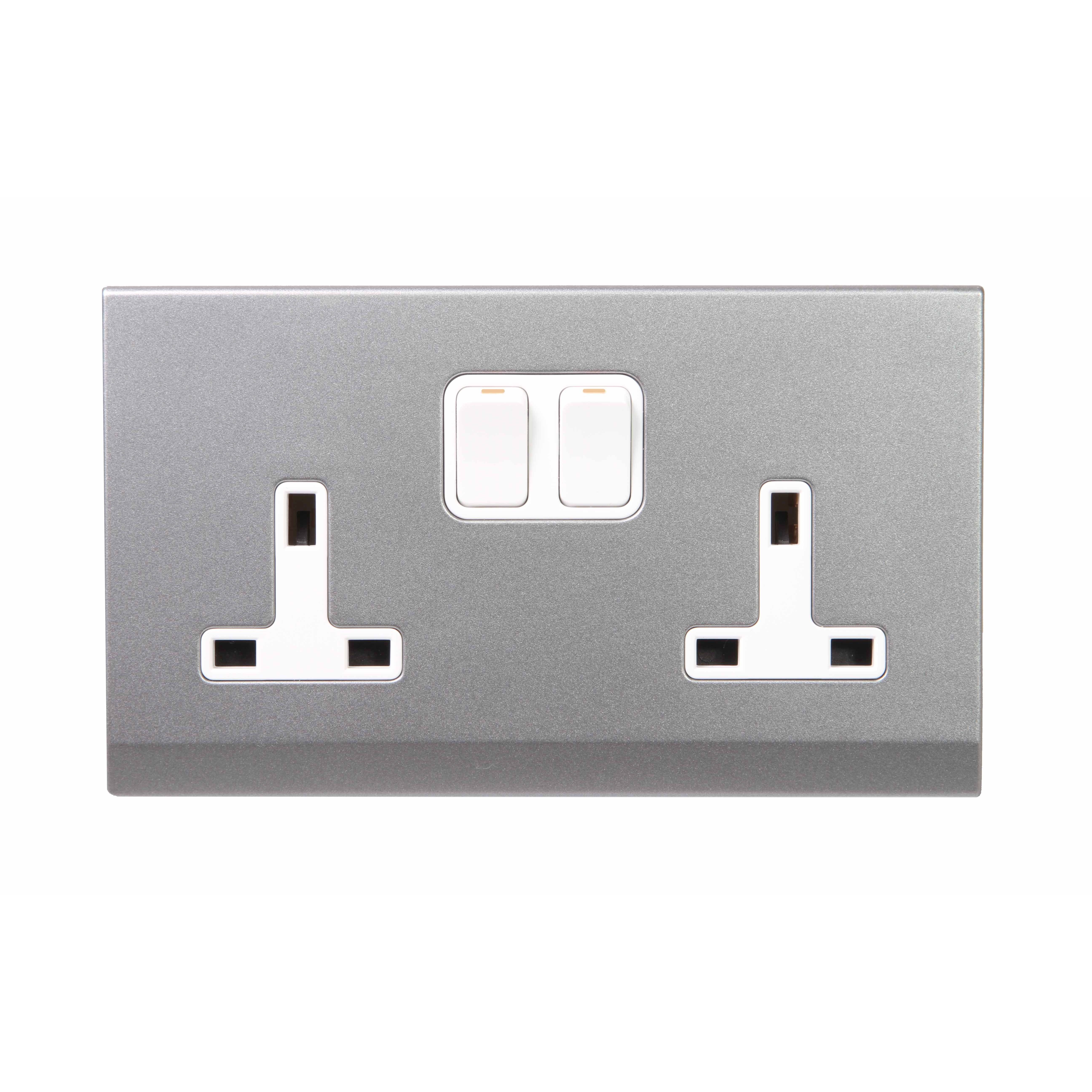 Simplicity Grey Screwless 13A Double Plug Socket 07442