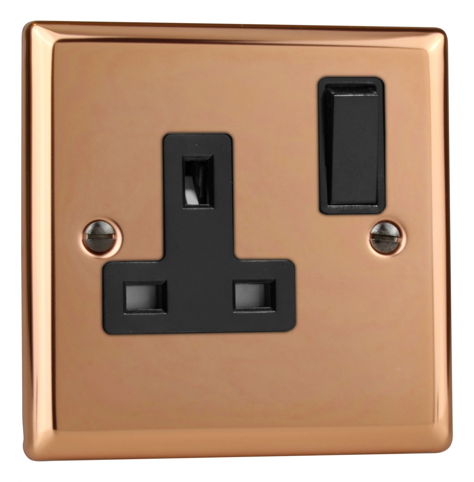 Varilight XY4B.CU Urban Polished Copper 1 Gang 13A Single Switched Plug Socket